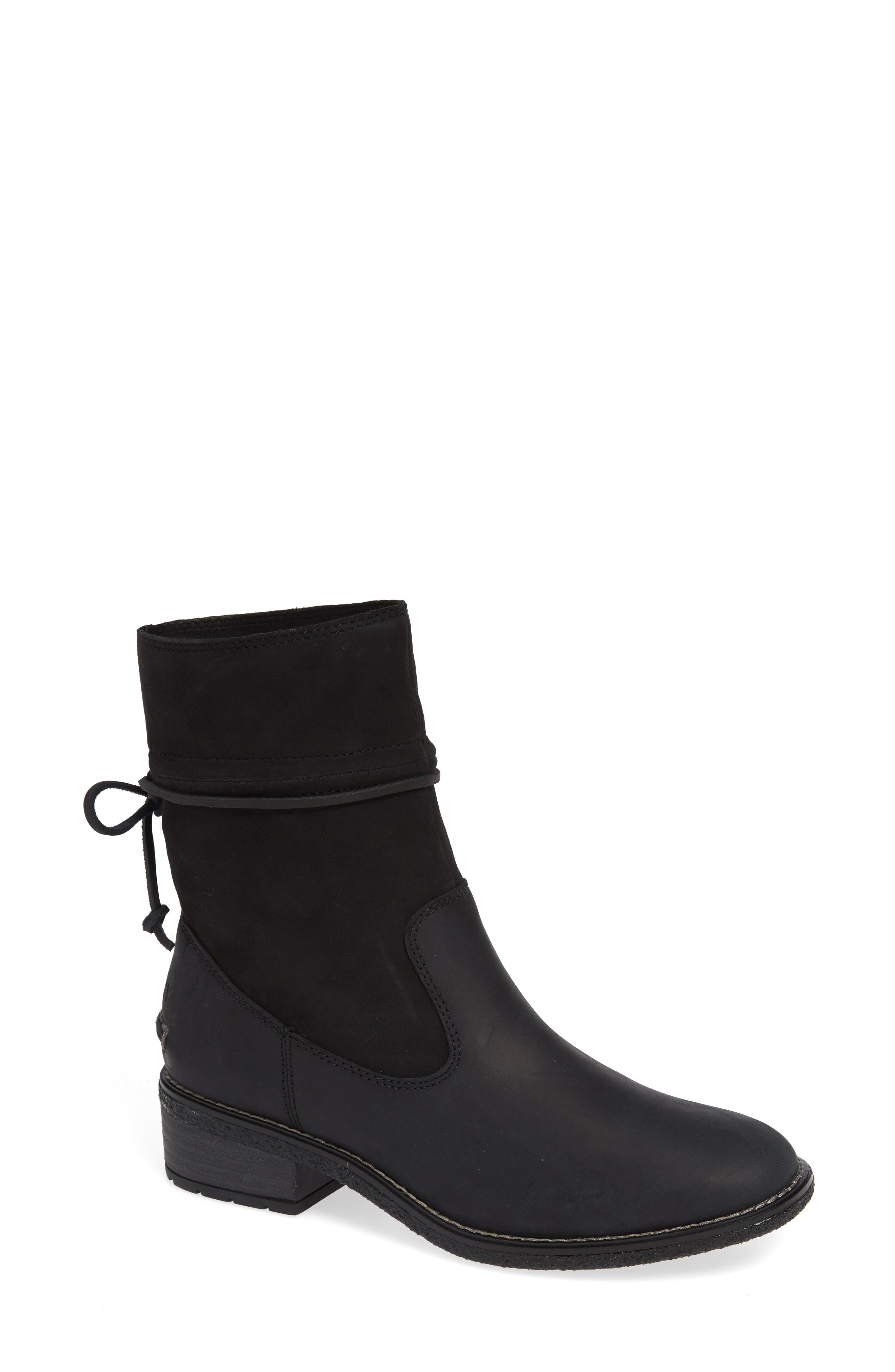 Maya Ronan Bootie,                             Main thumbnail 1, color,                             BLACK SUEDE/ LEATHER