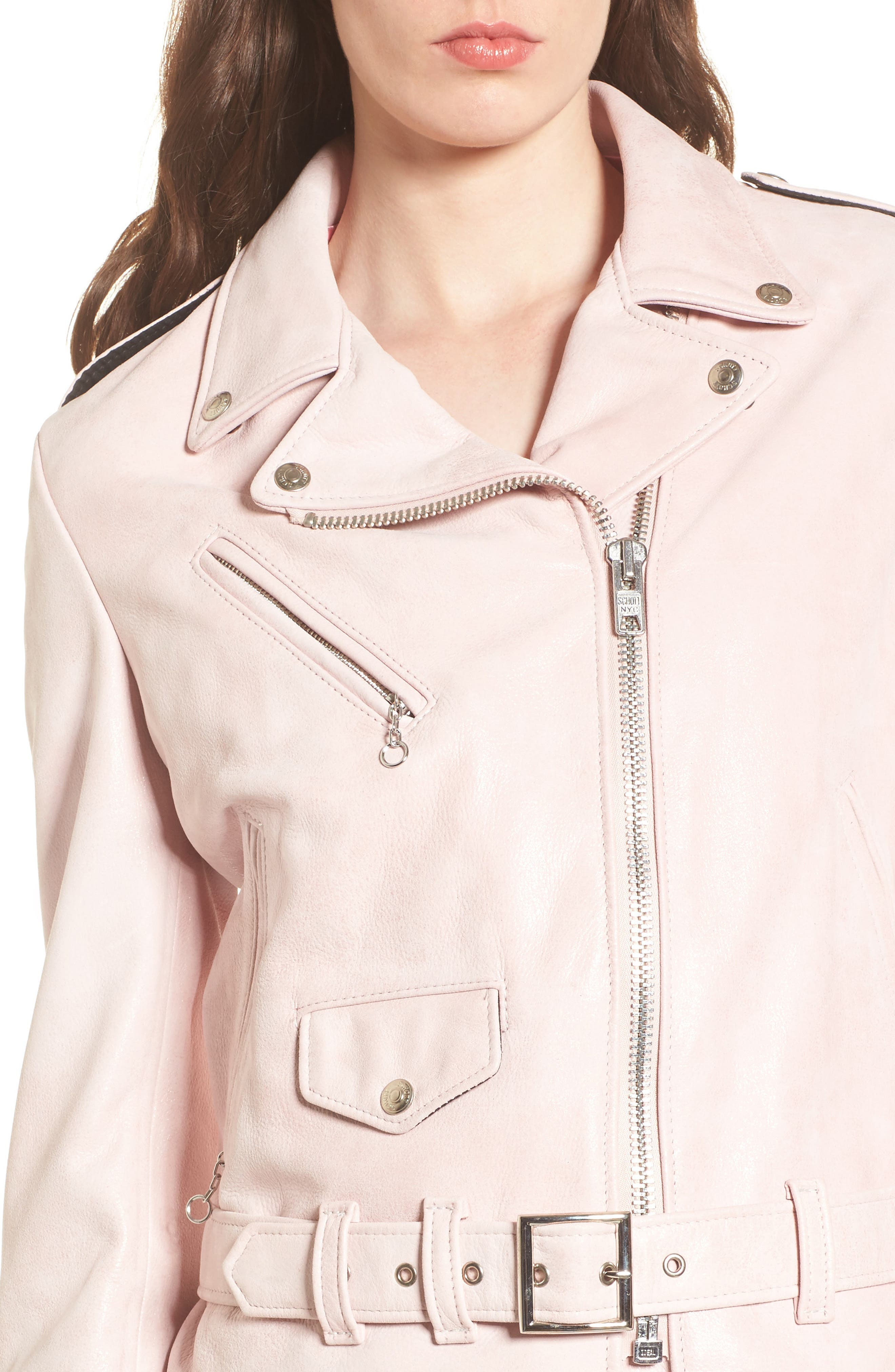 Perfecto Distressed Leather Boyfriend Jacket,                             Alternate thumbnail 12, color,