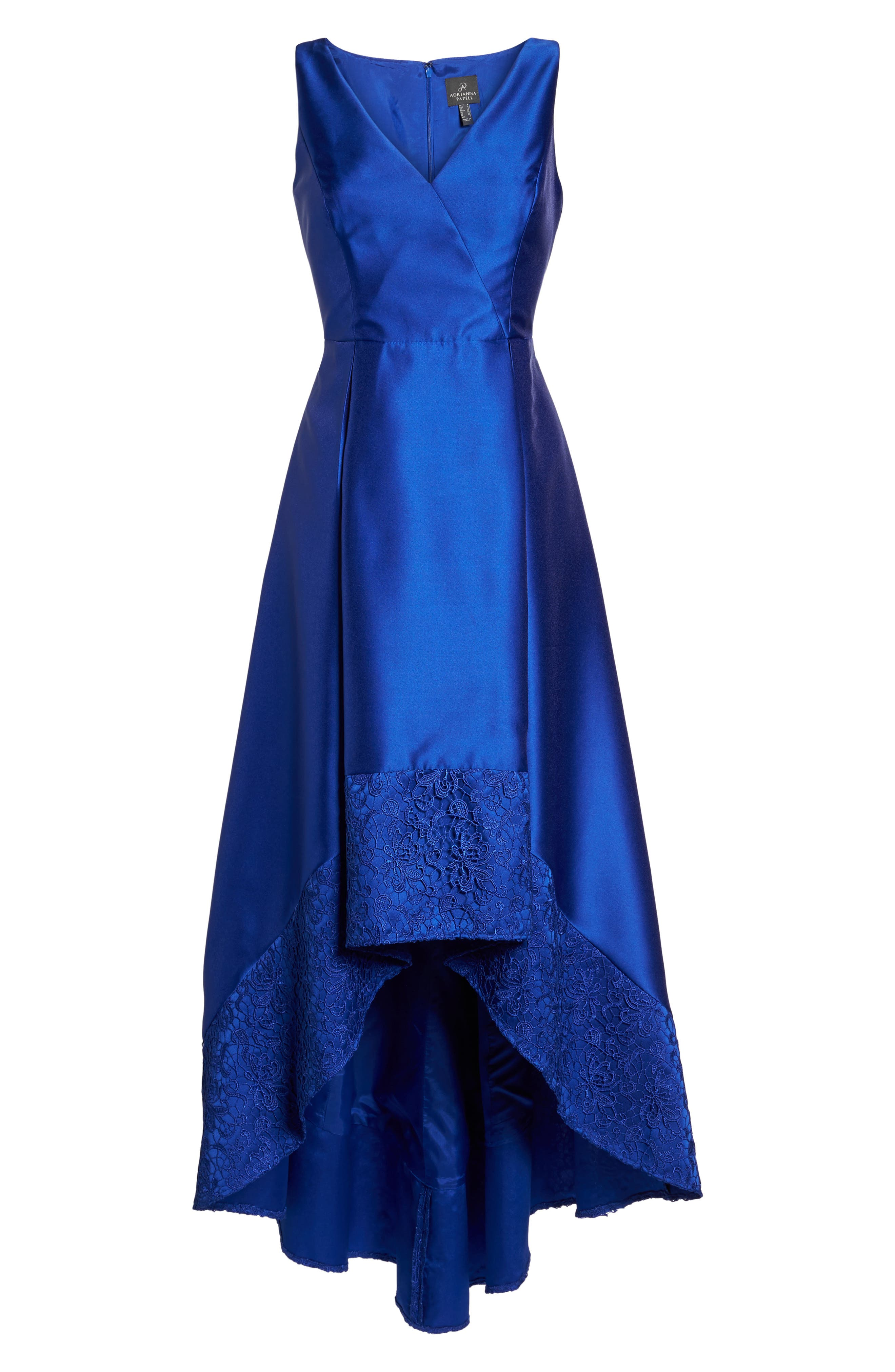 Lace Trim Mikado High/Low Gown,                             Alternate thumbnail 6, color,                             401