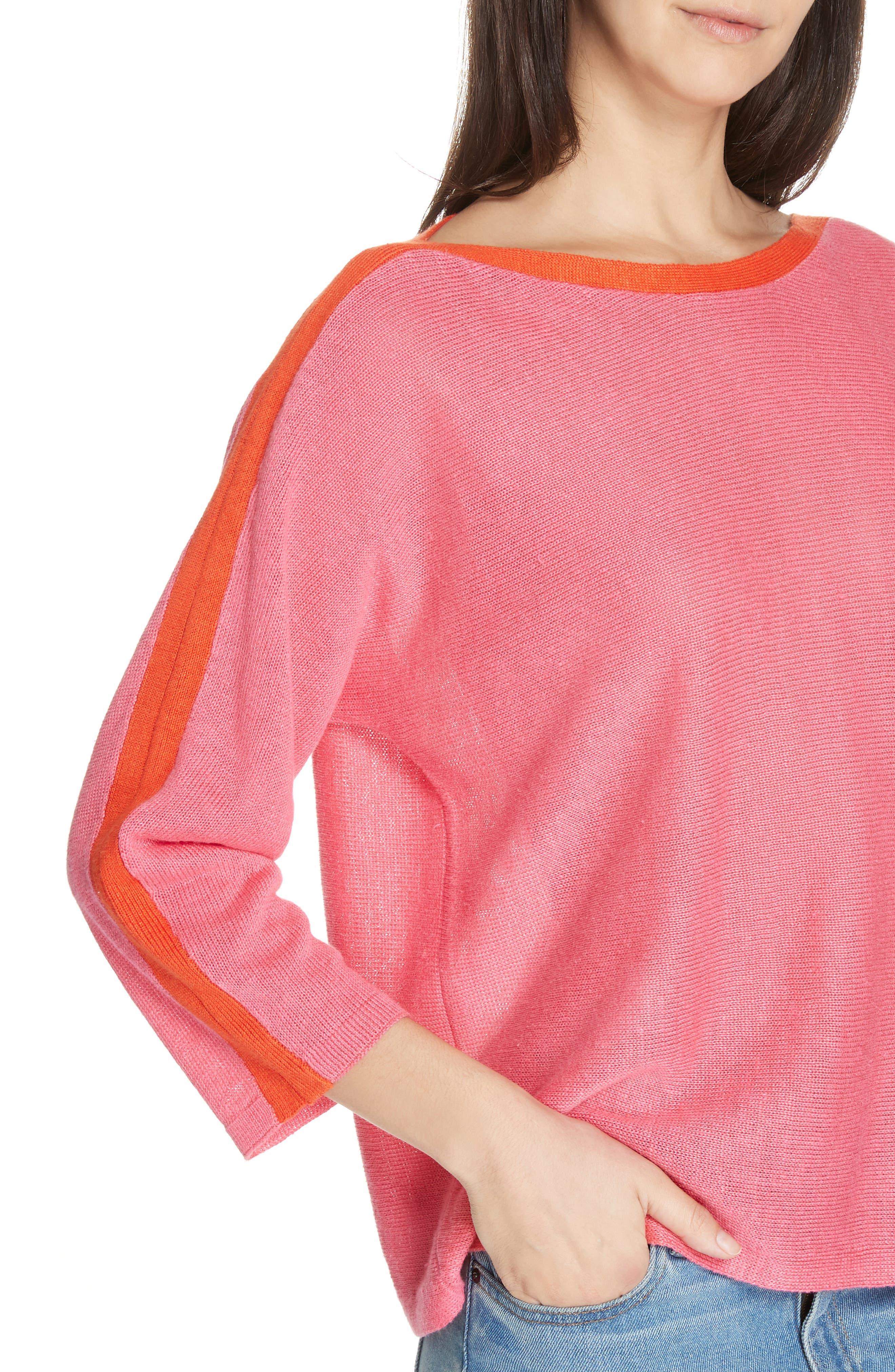 Stripe Detail Linen Sweater,                             Alternate thumbnail 4, color,                             CHERRY LANE