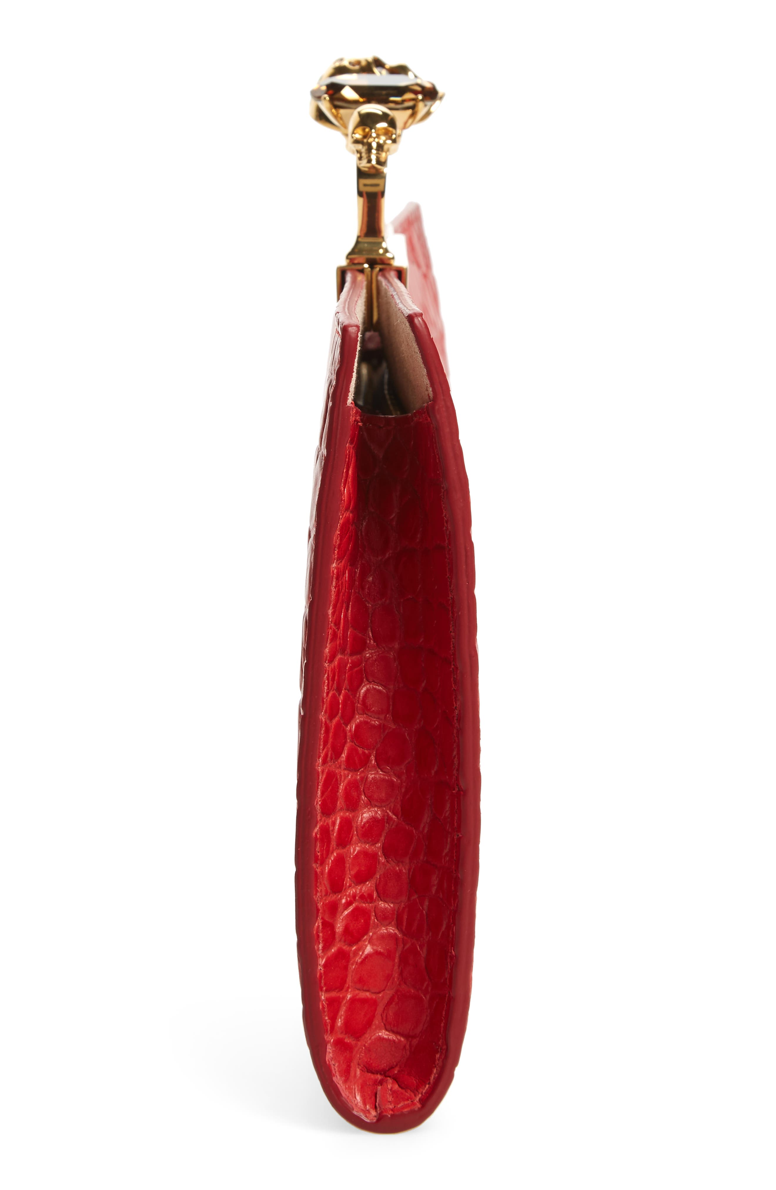 Croc Embossed Leather Knuckle Clutch,                             Alternate thumbnail 5, color,                             SCARLET RED