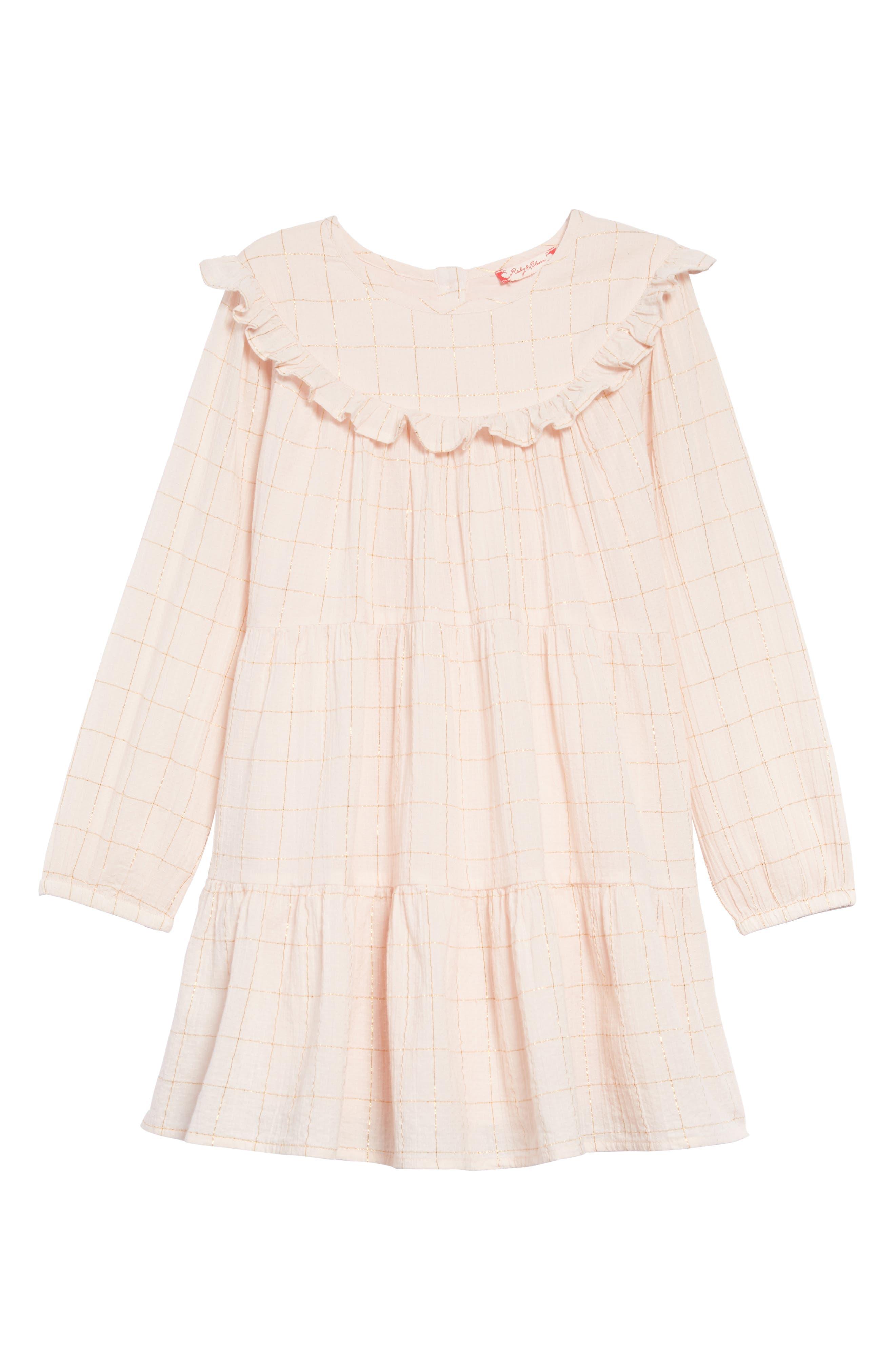Tiered Dress,                             Main thumbnail 1, color,                             PINK WOOD- GOLD CHECK