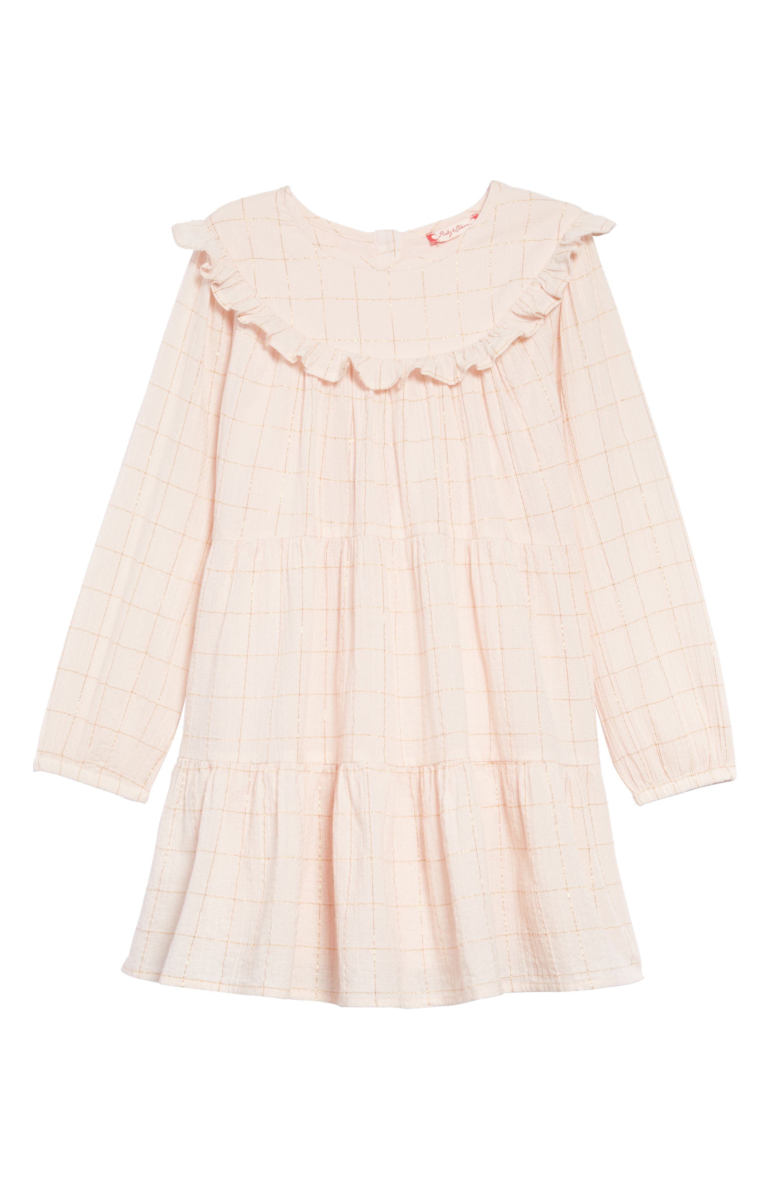 Tiered Dress, Main, color, PINK WOOD- GOLD CHECK