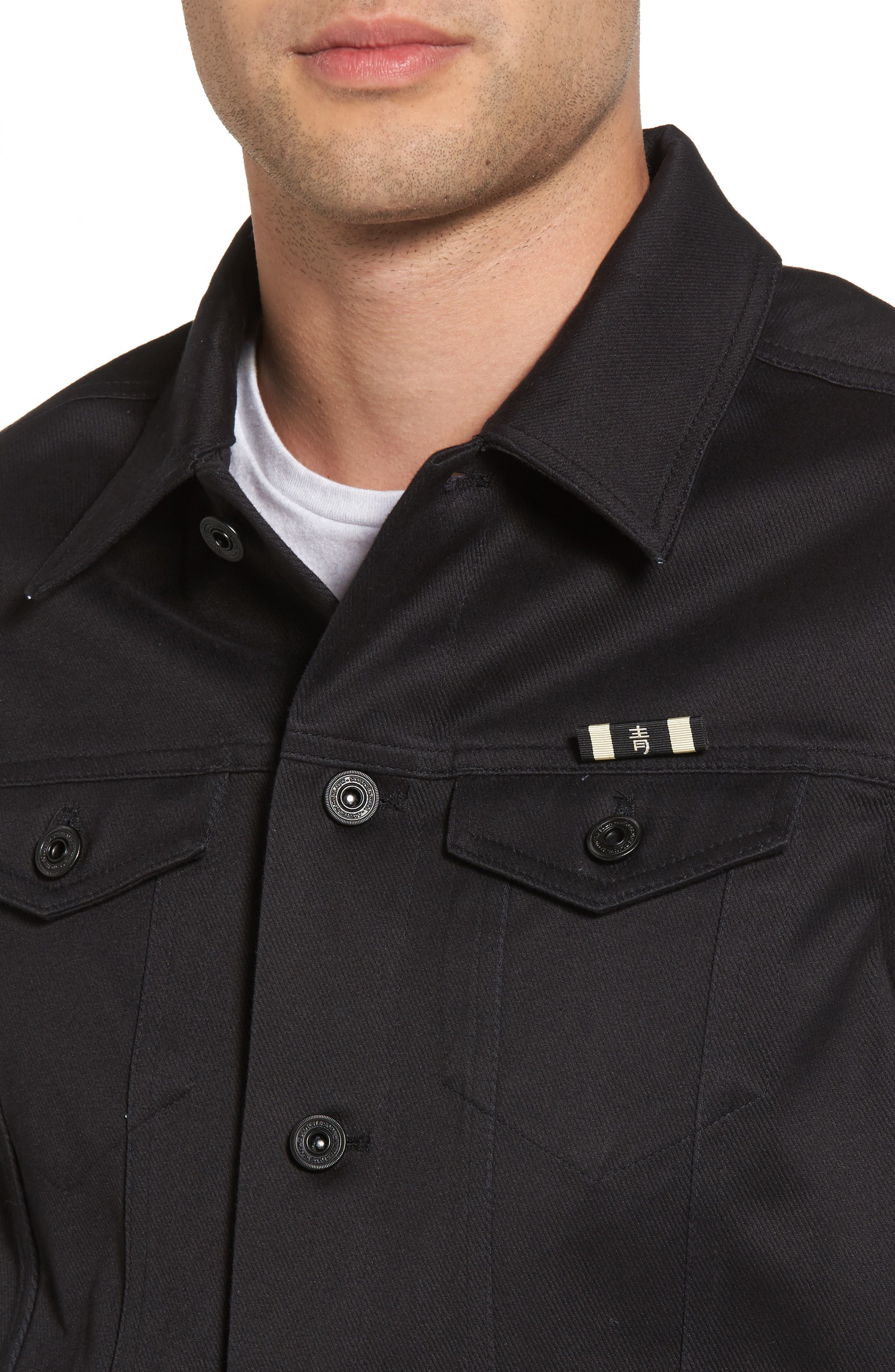 Clean Tailored Trucker Jacket,                             Alternate thumbnail 4, color,                             002