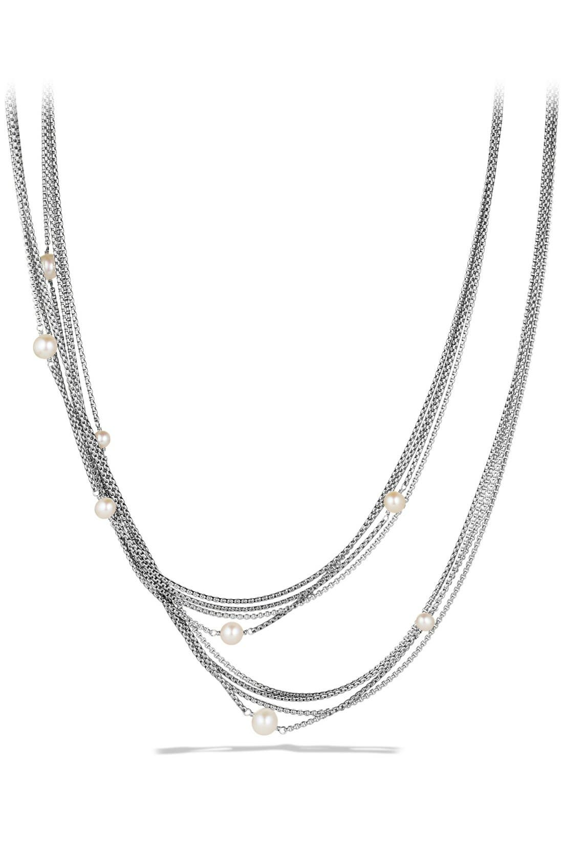 Four-Row Chain Necklace with Pearls, Main, color, PEARL