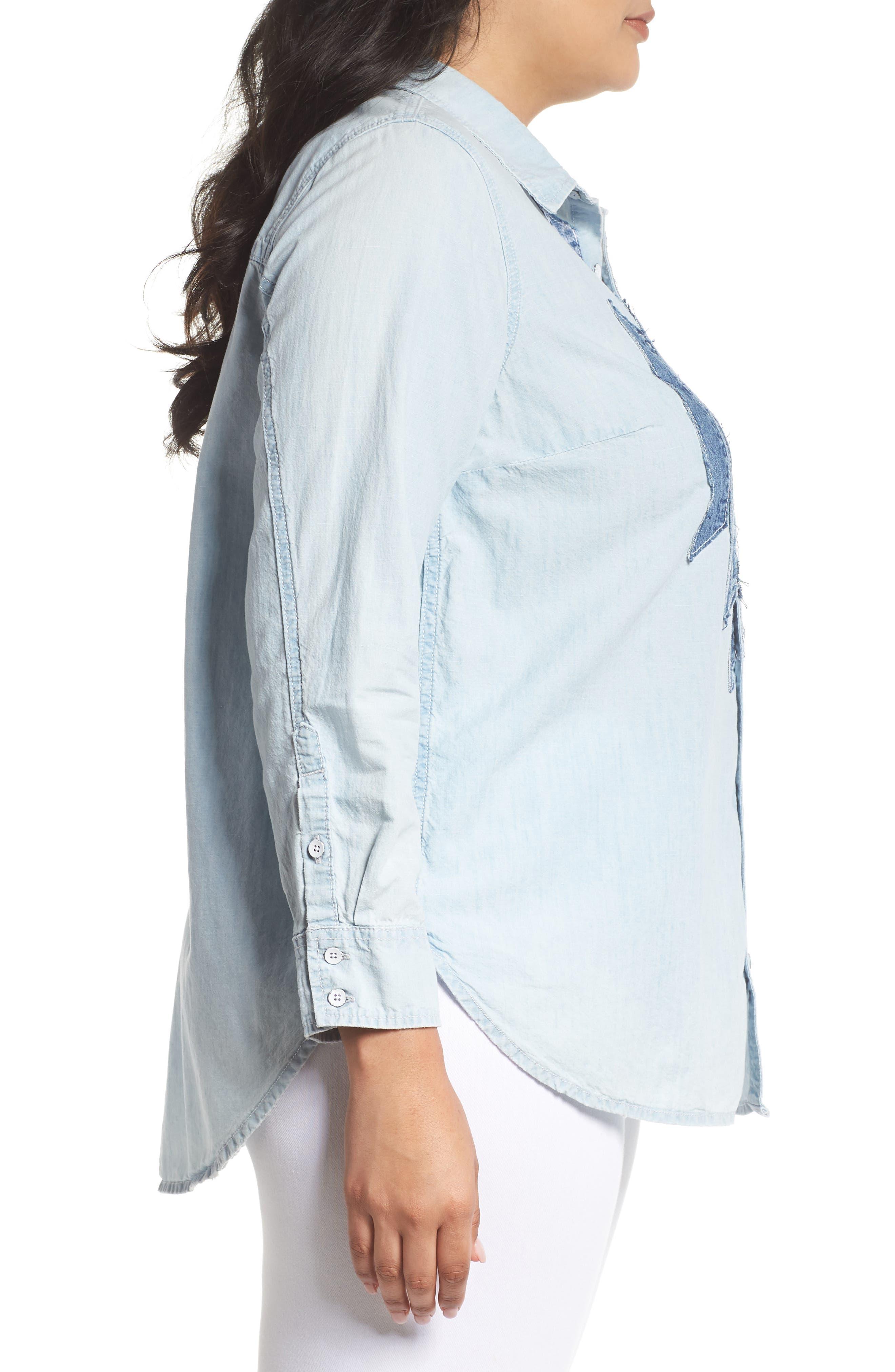 Denim Appliqué Chambray Shirt,                             Alternate thumbnail 3, color,                             450