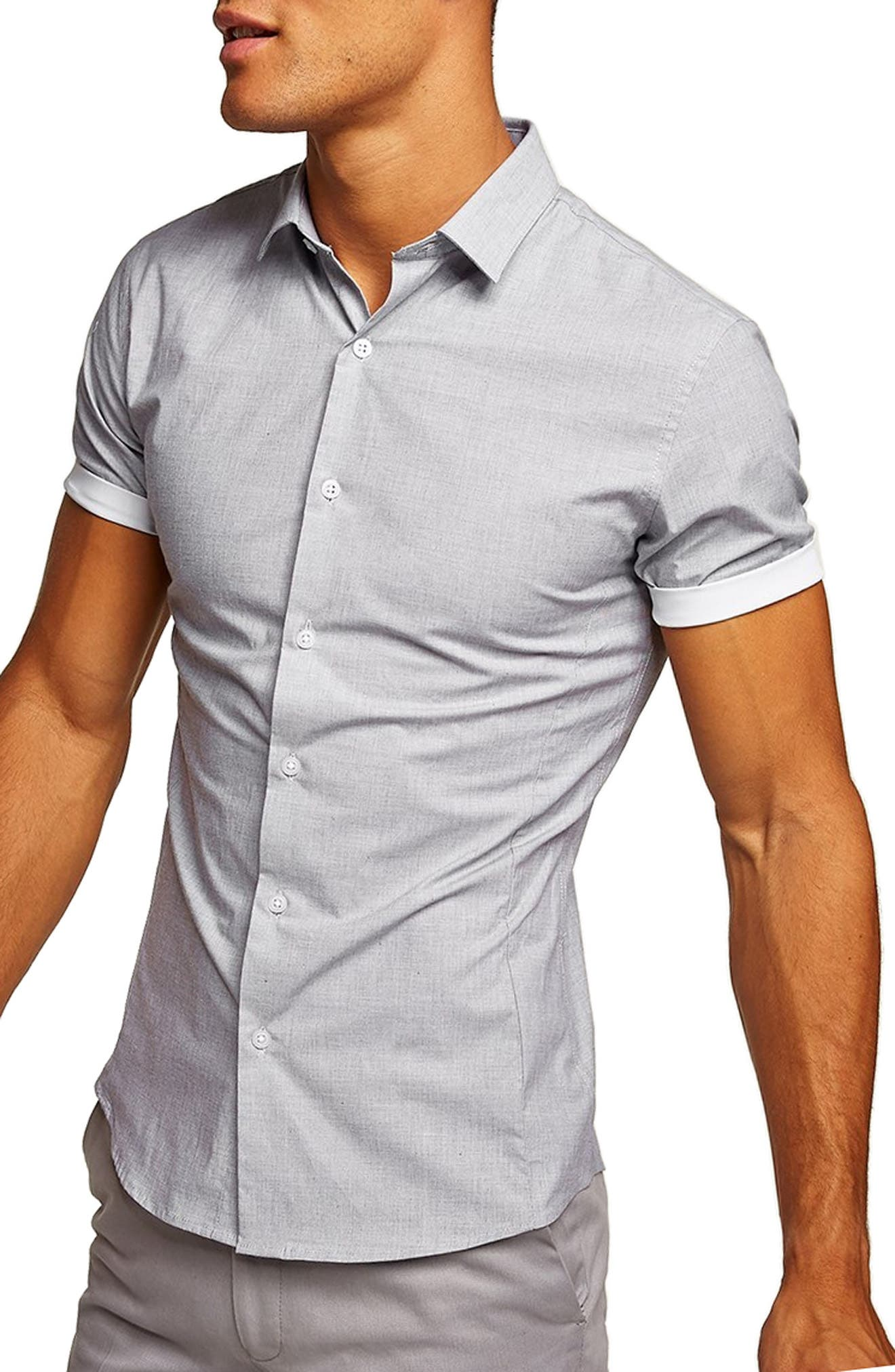 Classic Turn-Up Shirt,                         Main,                         color, GREY