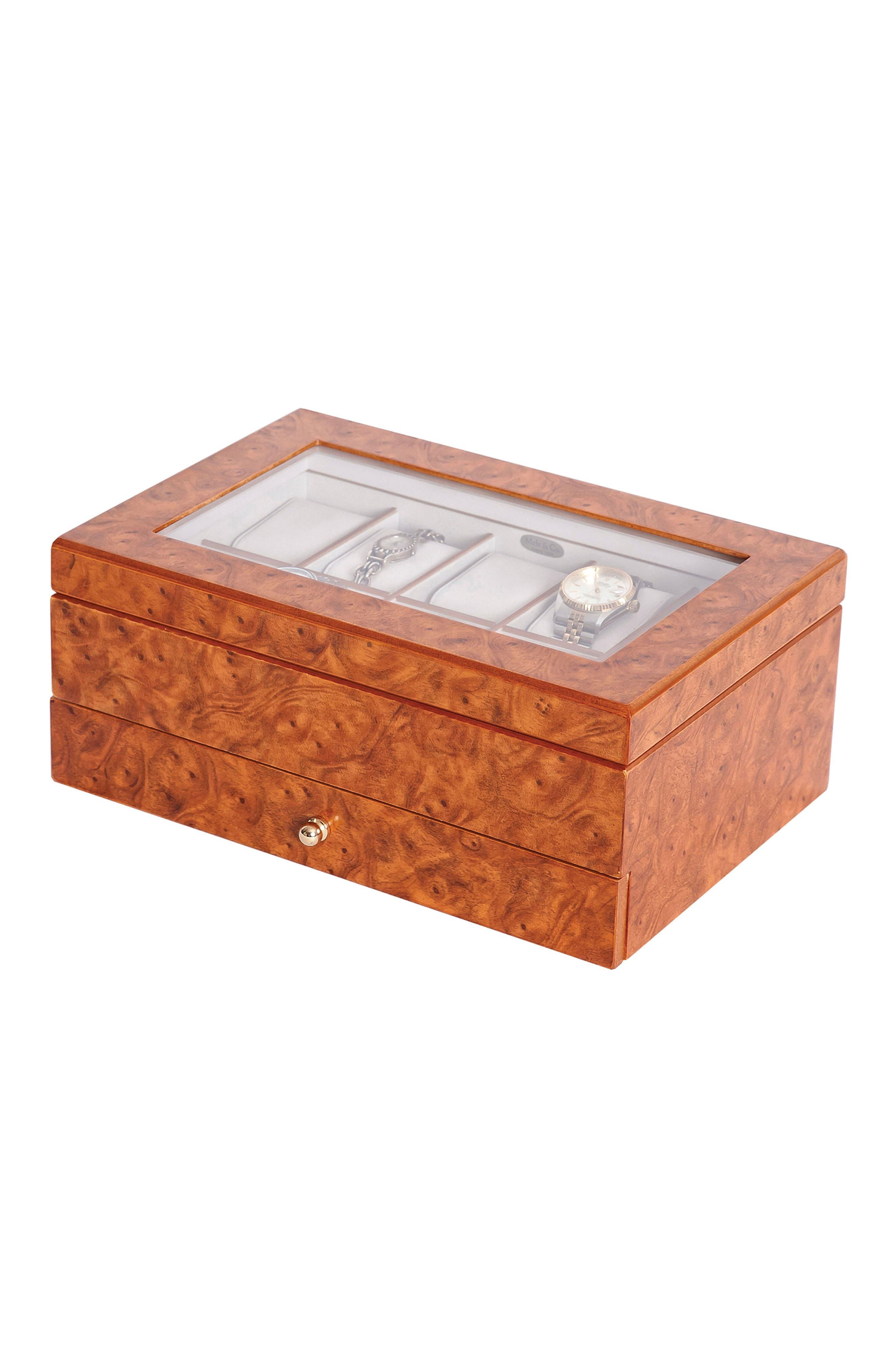 Peyton Glass Top Watch Box,                             Main thumbnail 1, color,                             BROWN