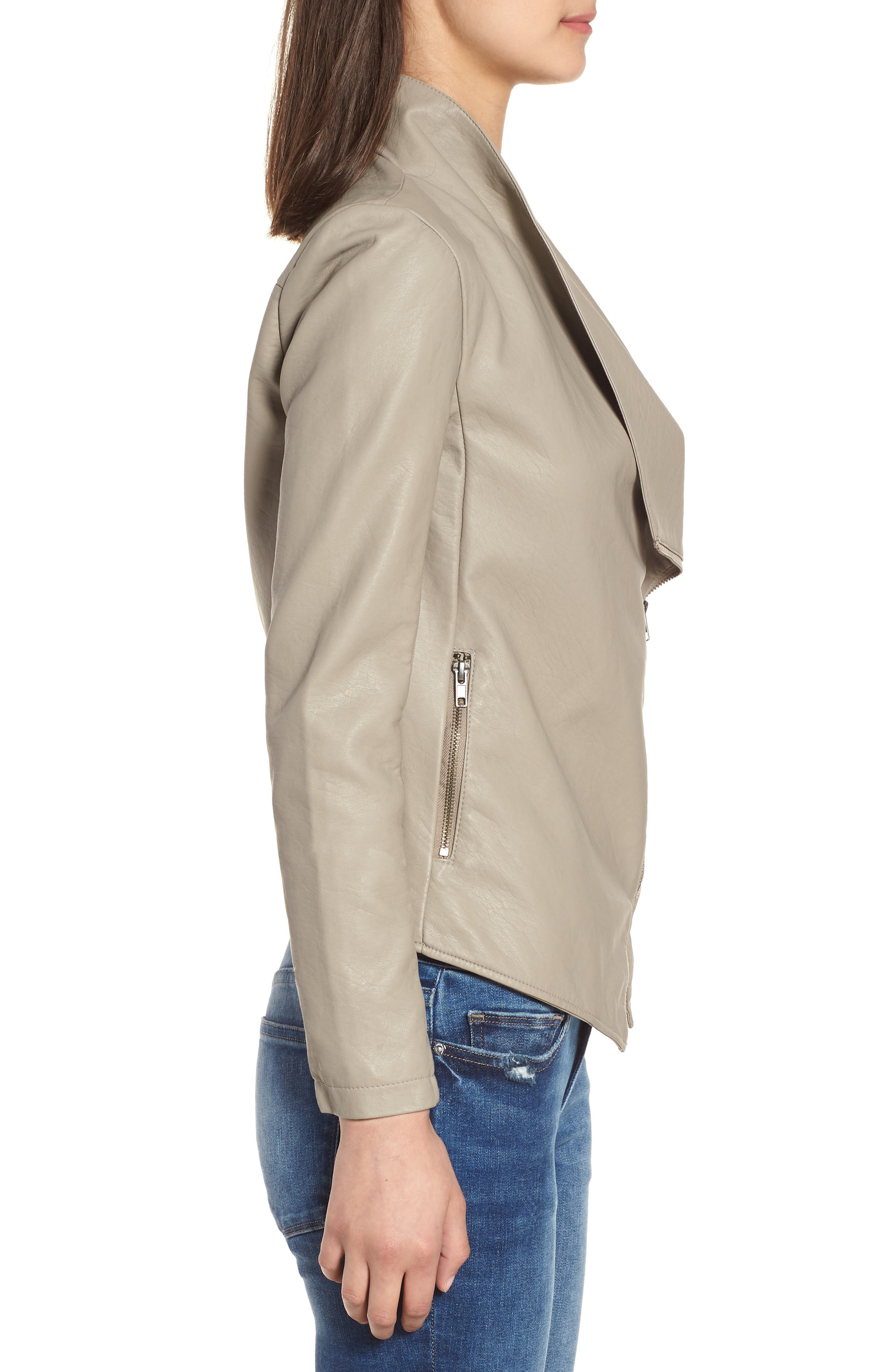 Gabrielle Faux Leather Asymmetrical Jacket,                             Alternate thumbnail 3, color,                             TOFFEE