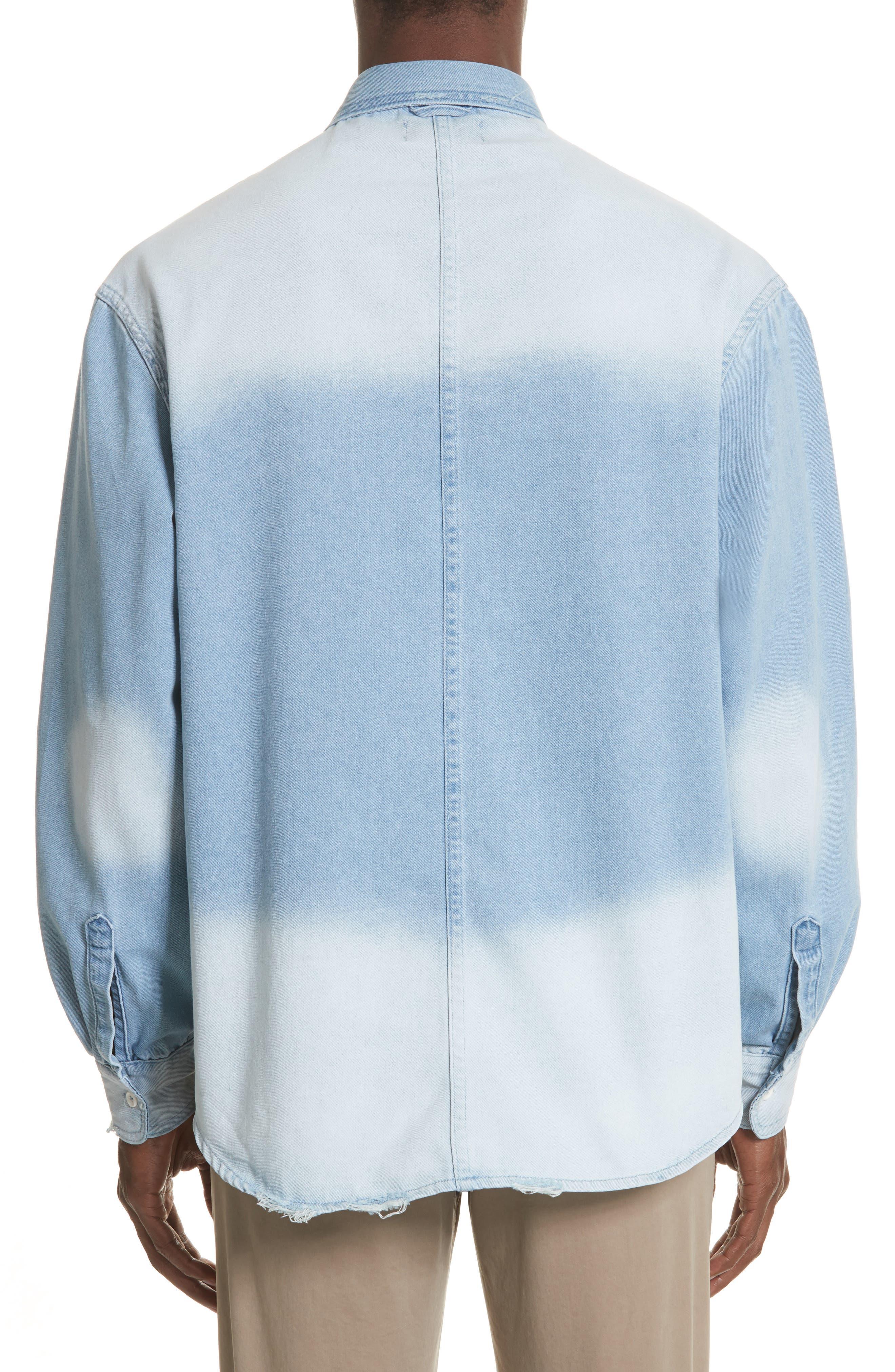 Oversize Distressed Denim Shirt,                             Alternate thumbnail 2, color,                             WASHED DENIM