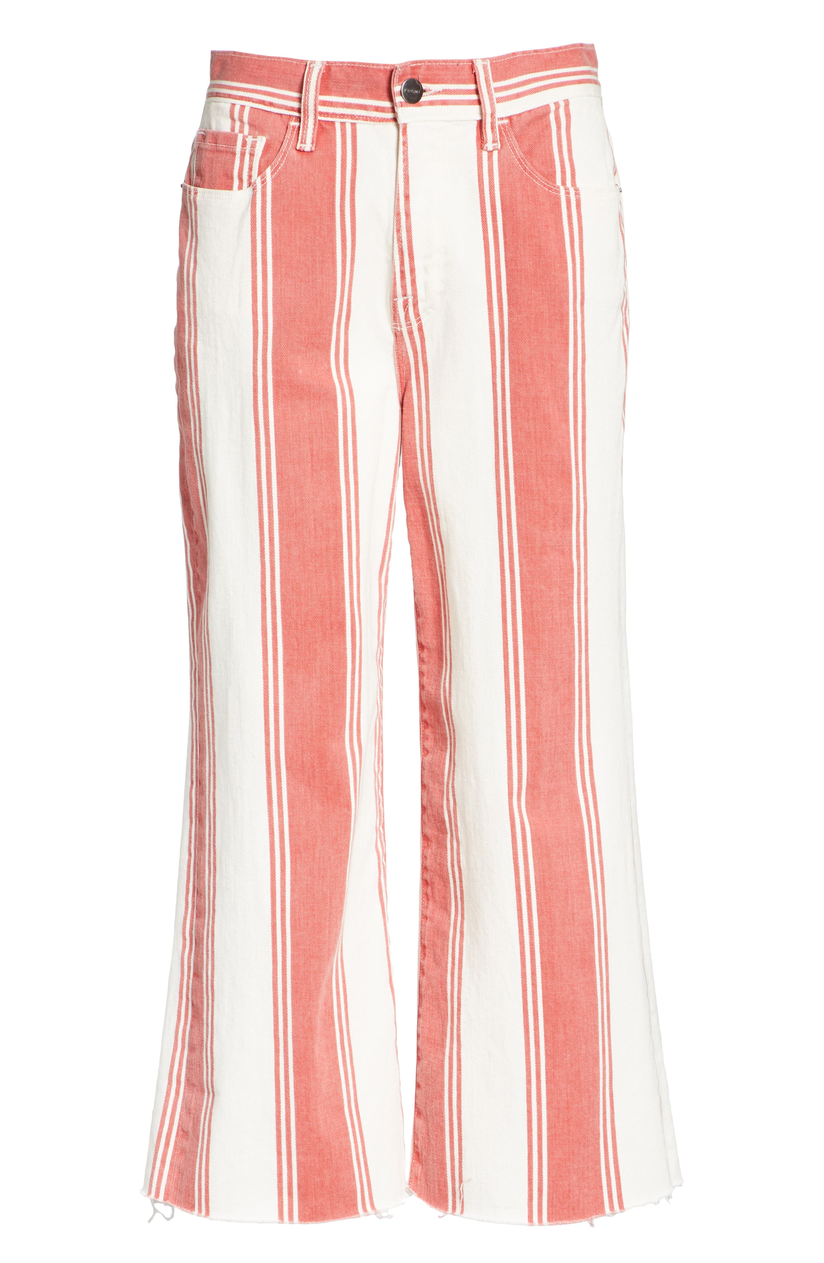 Vintage Stripe Crop Jeans,                             Alternate thumbnail 6, color,                             FIERY STRIPE