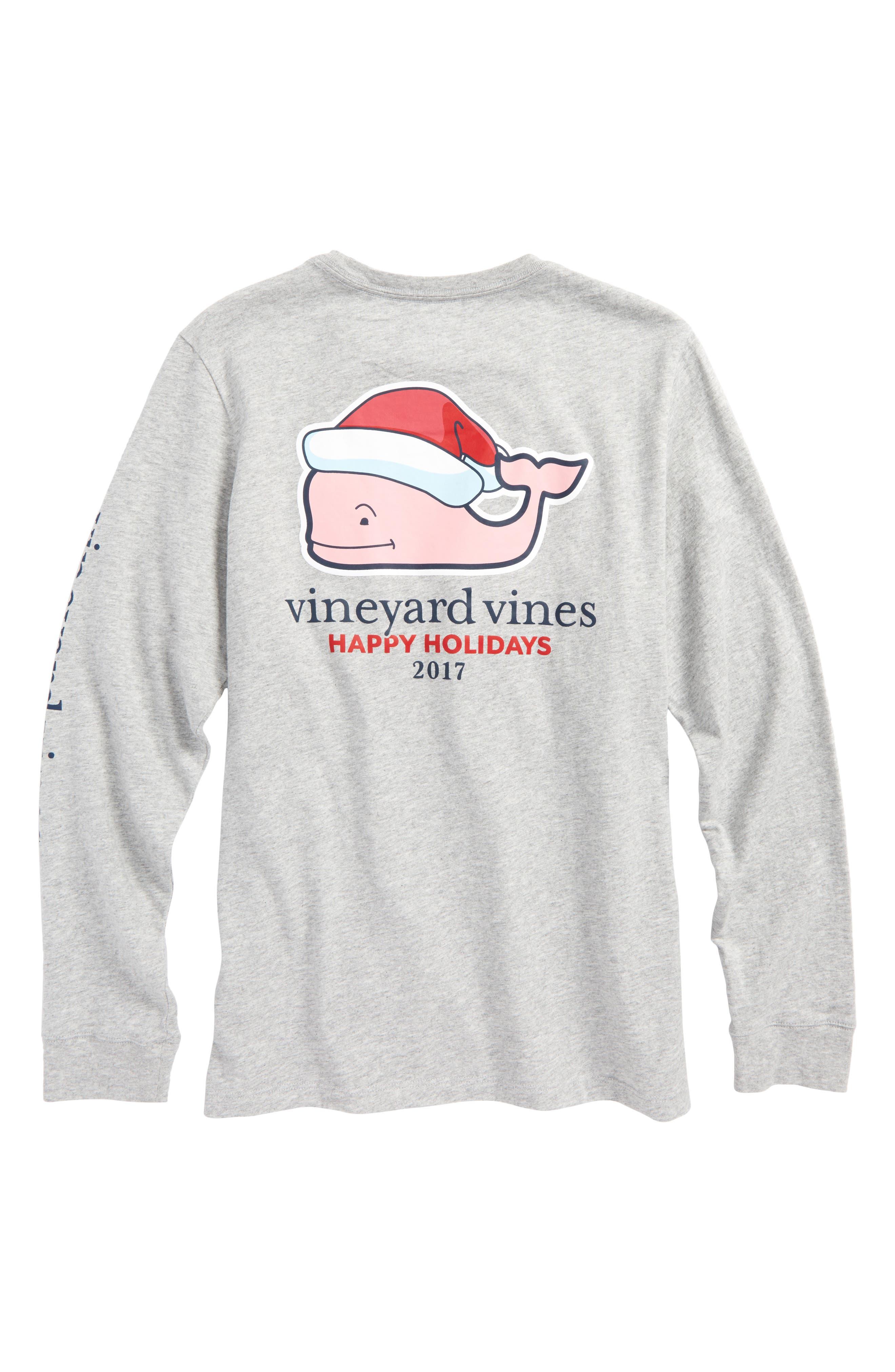 Santa Whale Happy Holidays 2017 T-Shirt,                             Alternate thumbnail 2, color,