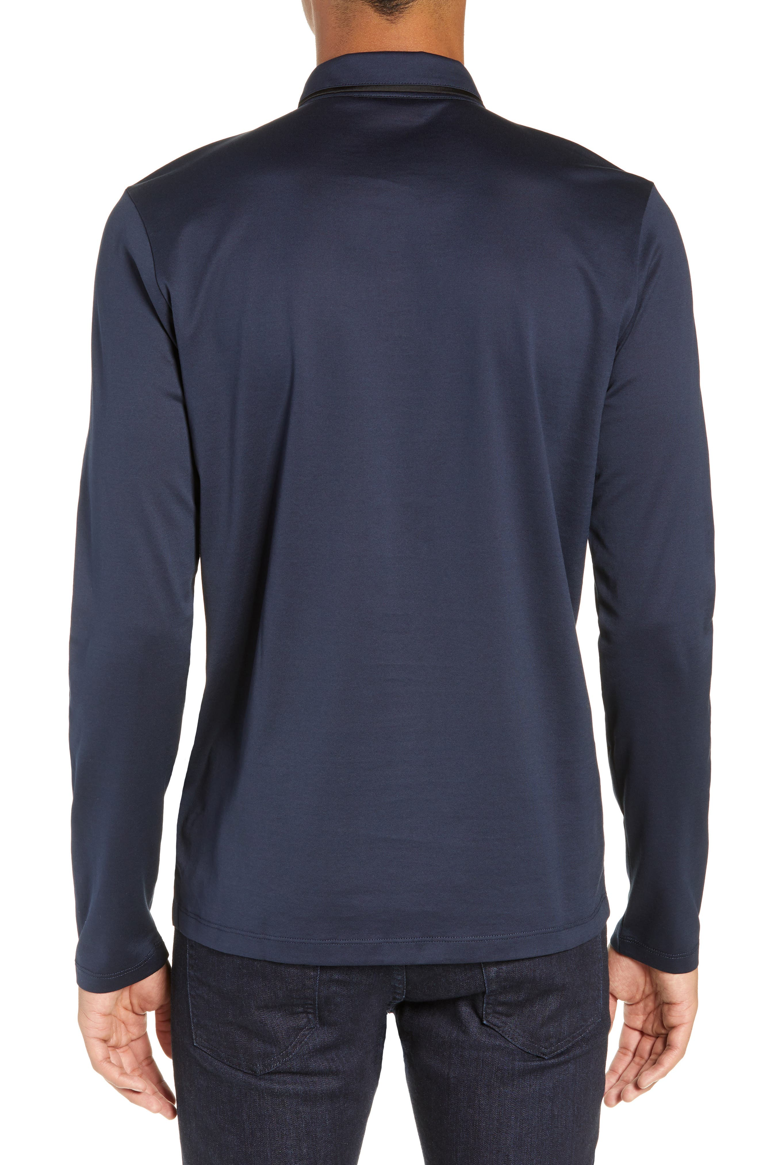 Dalendar Mercerized Cotton Slim Fit Polo Shirt,                             Alternate thumbnail 2, color,                             BLUE