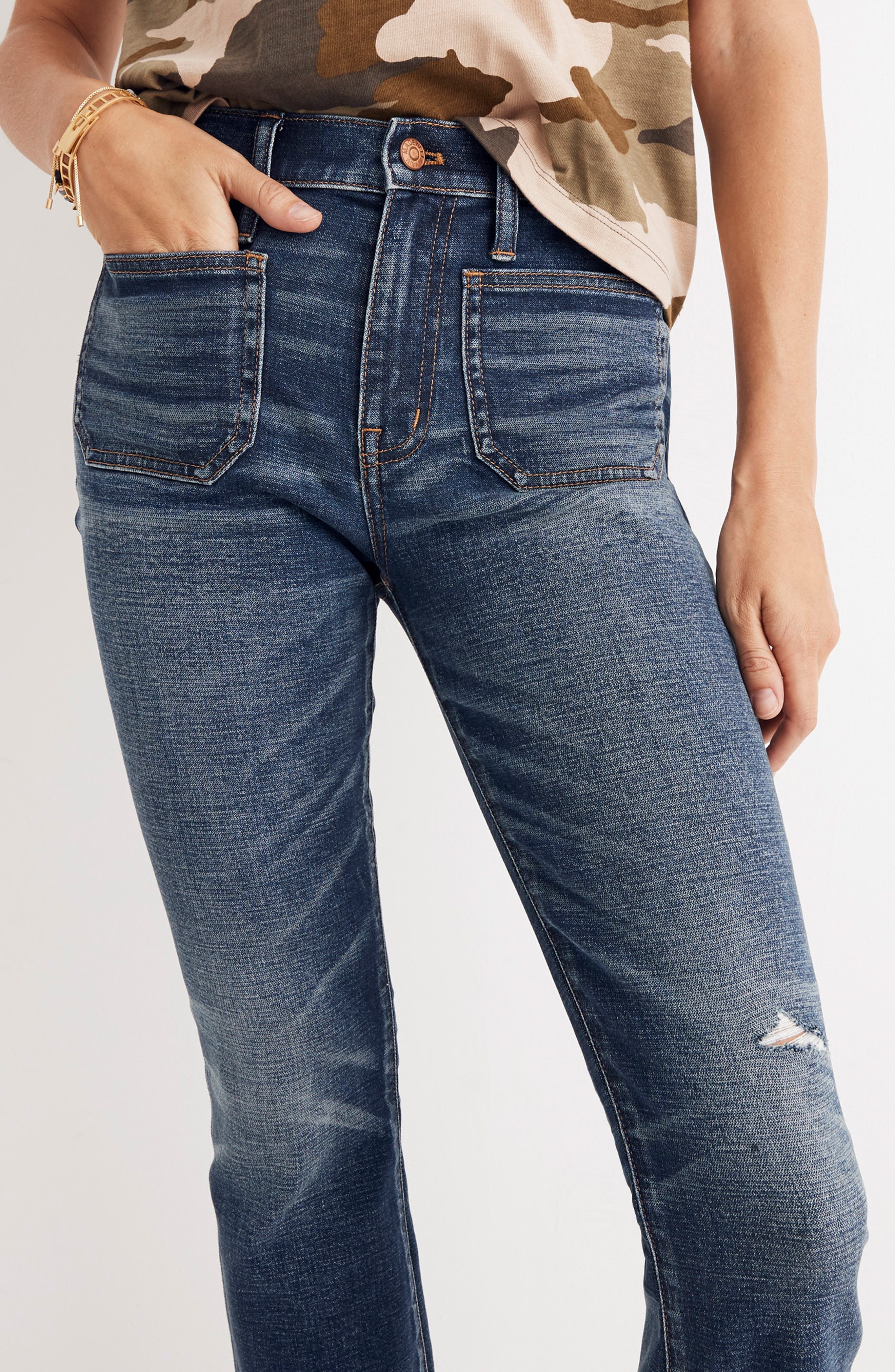 Cali Patch Pocket High Waist Demi Boot Jeans,                             Alternate thumbnail 6, color,                             DERMOTT
