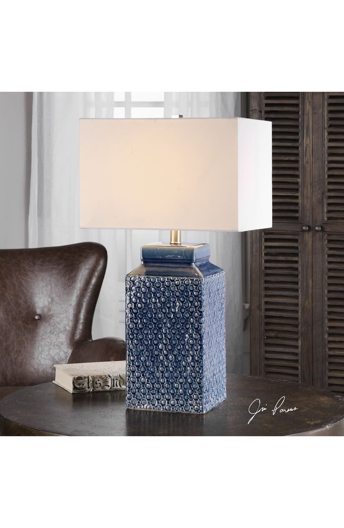 'Sapphire' Glazed Ceramic Table Lamp,                             Alternate thumbnail 2, color,                             BLUE