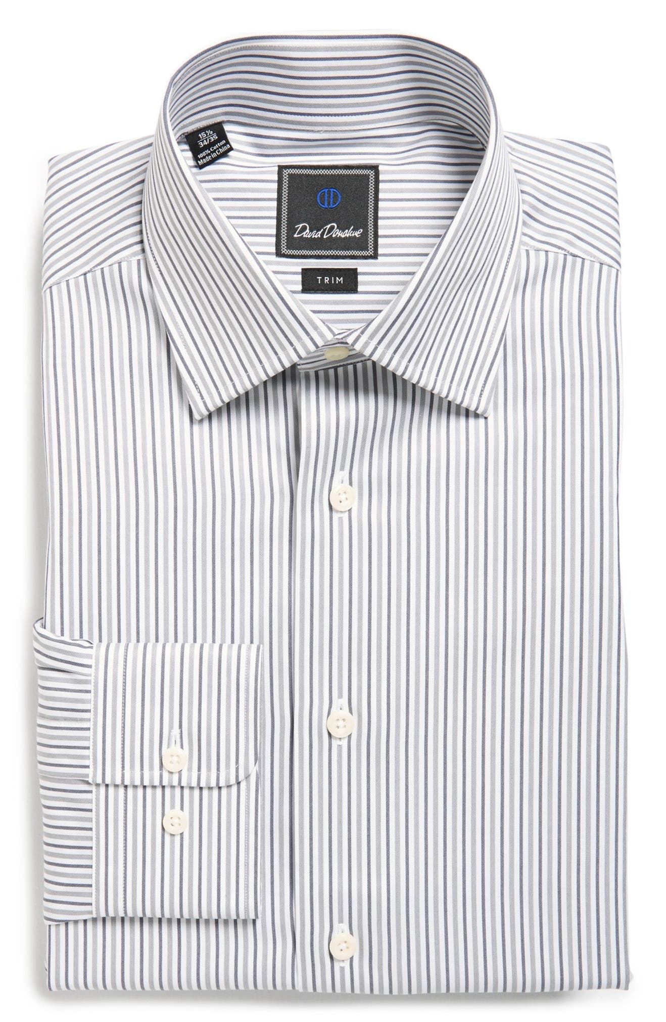 David Donahue Trim Fit Stripe Dress Shirt Nordstrom