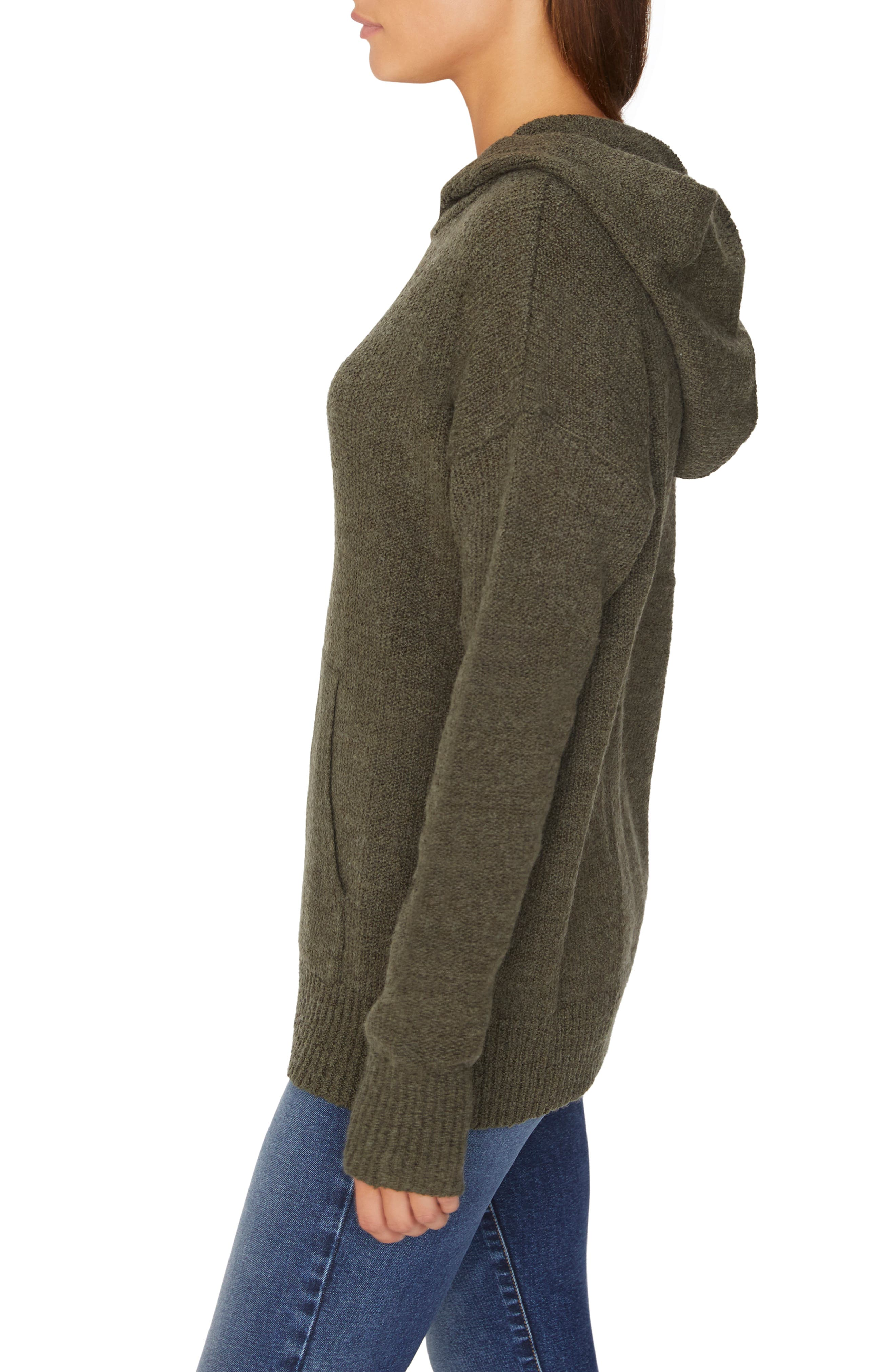 Sunday Morning Wool Blend Sweater Hoodie,                             Alternate thumbnail 3, color,                             HEATHER PROSPERITY GREEN
