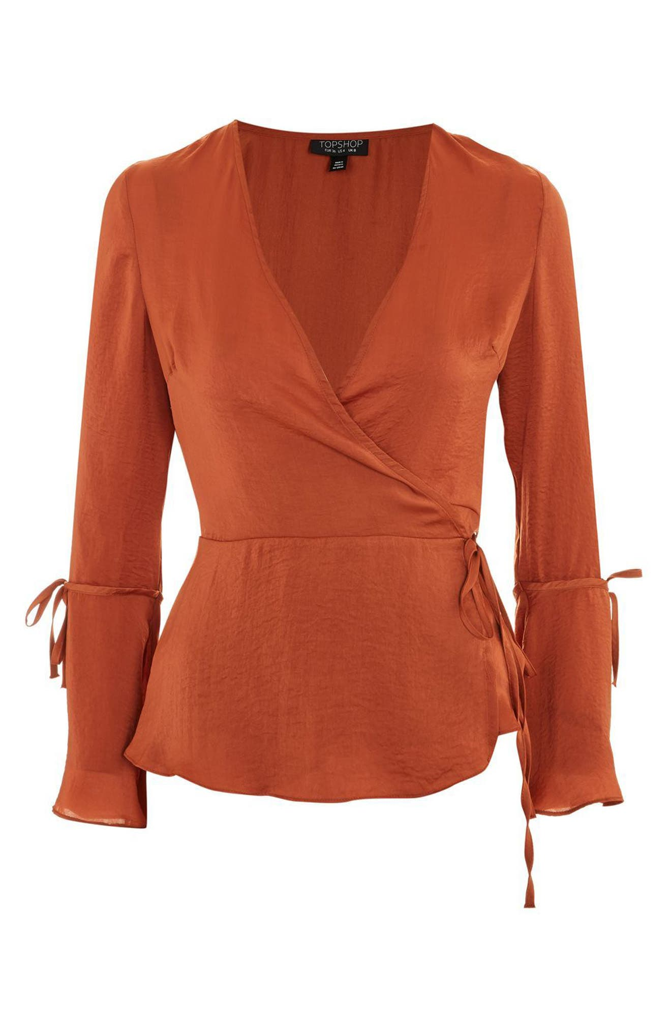 Hammered Satin Wrap Top,                             Alternate thumbnail 11, color,