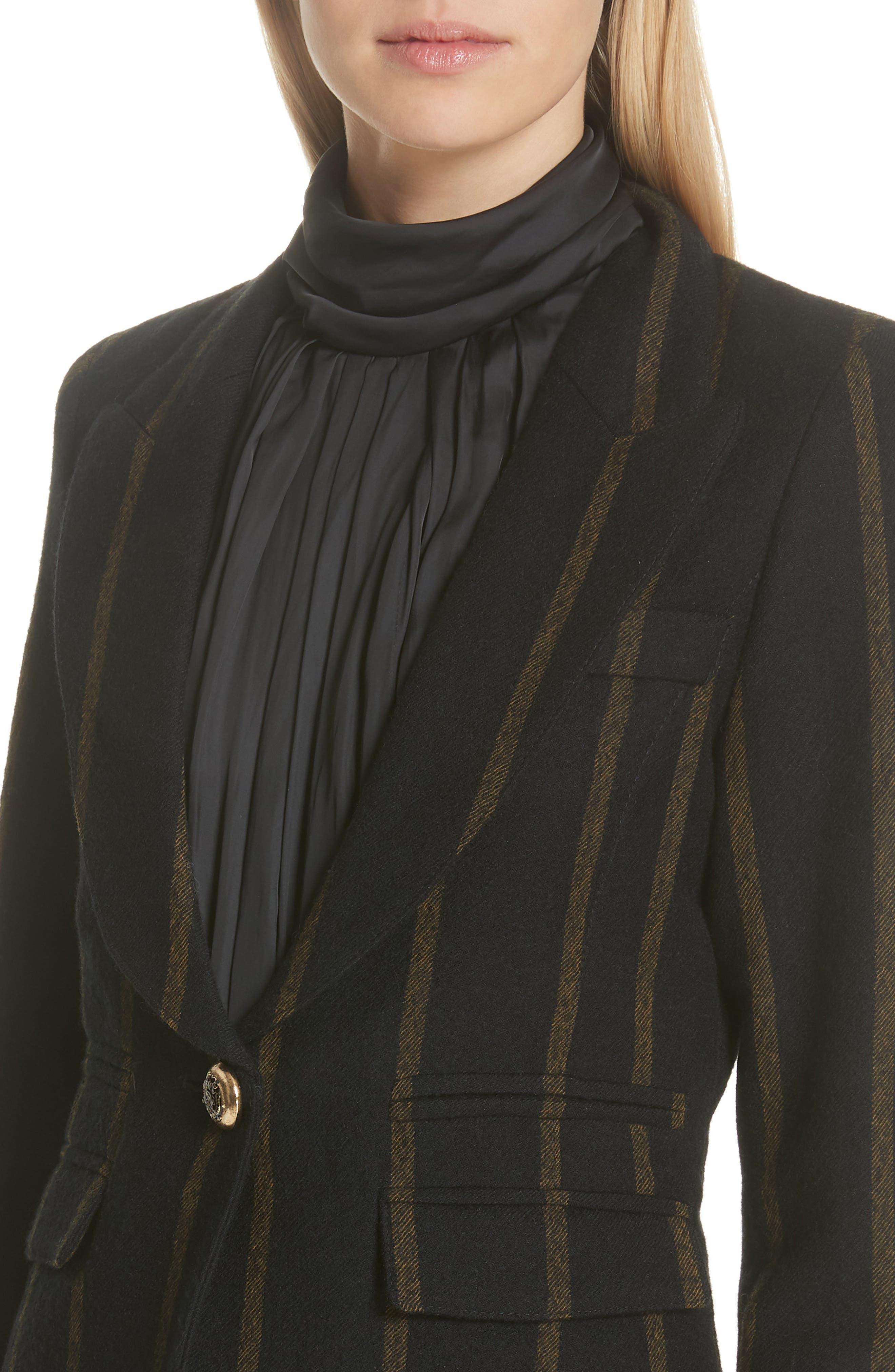 Stripe Peak Lapel Wool Blazer,                             Alternate thumbnail 4, color,                             002