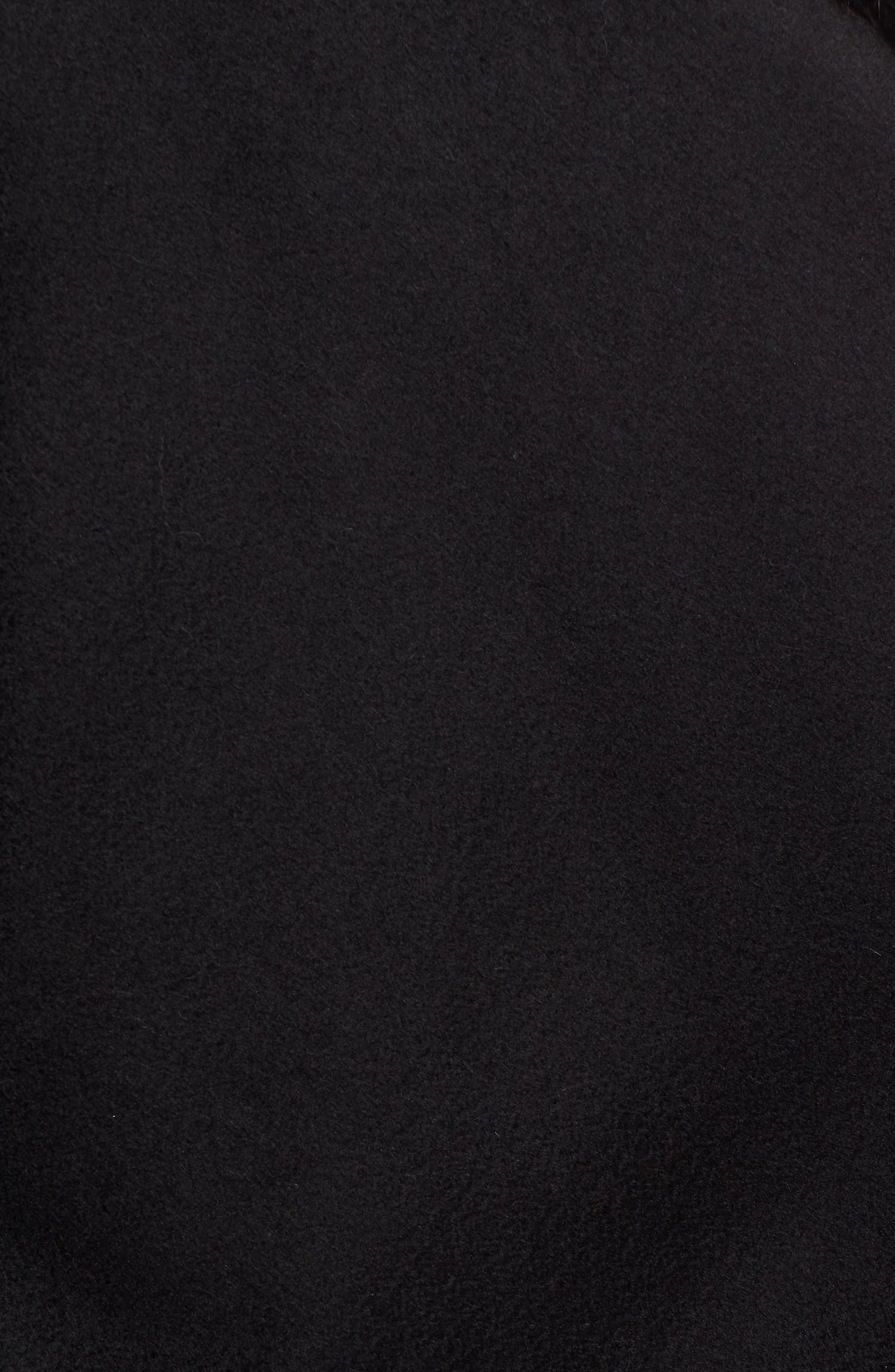 Petite Genuine Fox Fur Trim Cashmere Cape,                             Alternate thumbnail 5, color,                             BLACK