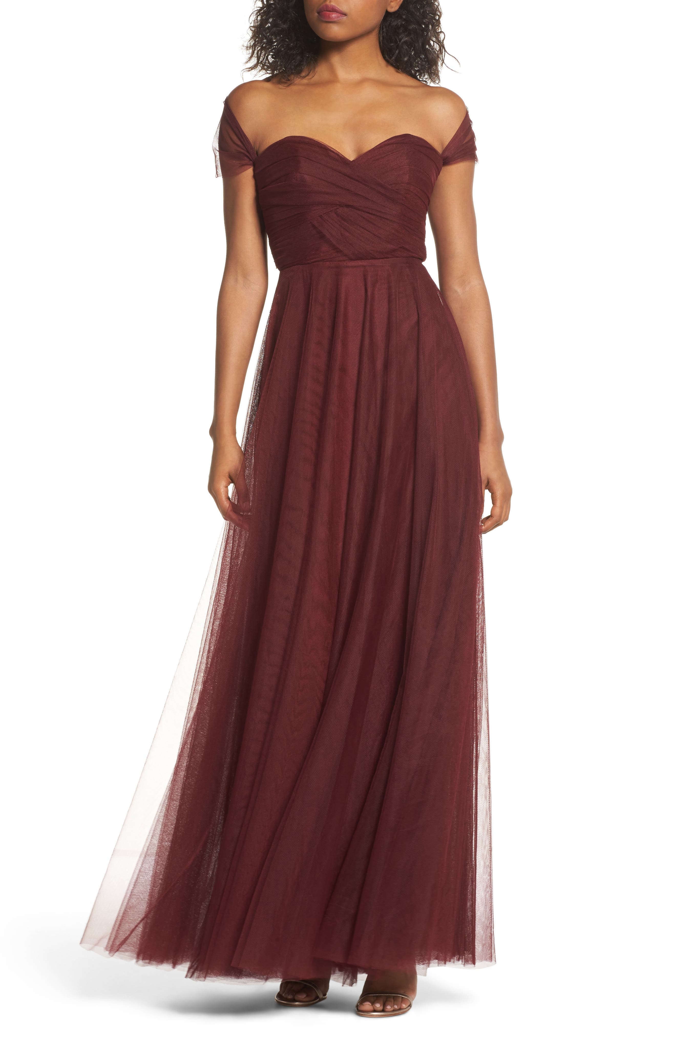 Jenny Yoo Julia Convertible Soft Tulle Gown, Burgundy