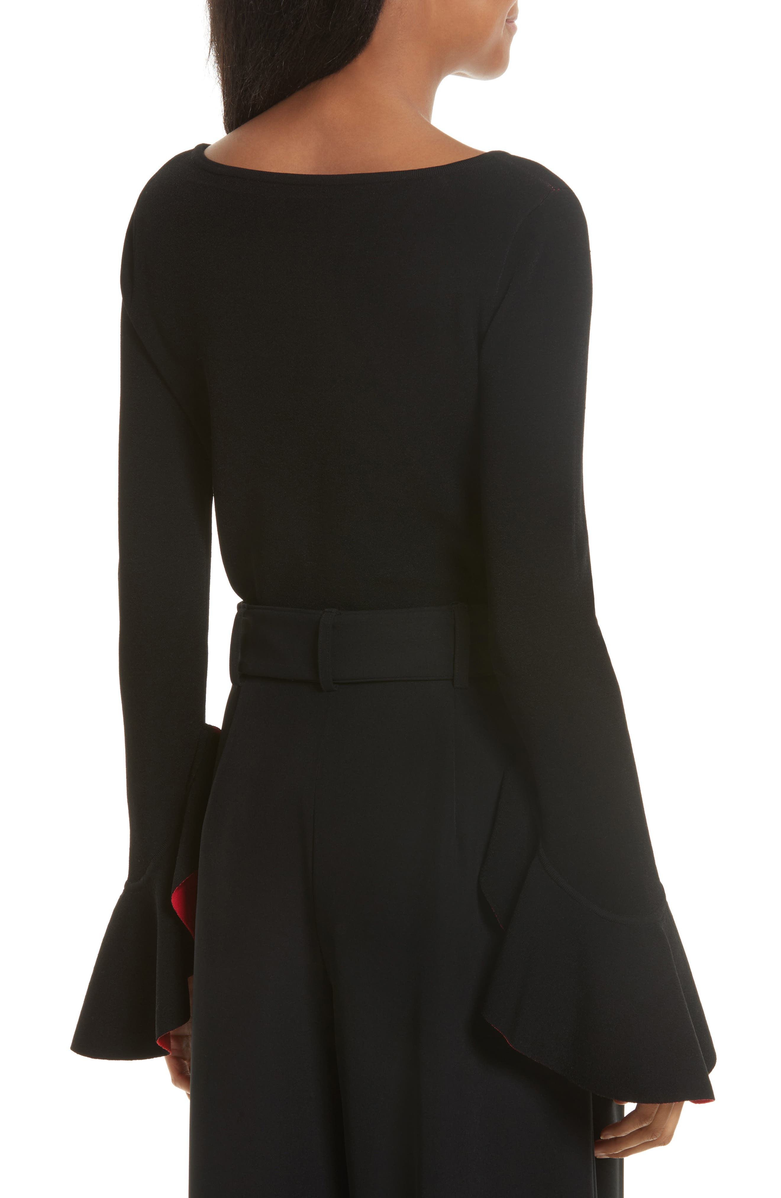 Contrast Lined Bell Sleeve Top,                             Alternate thumbnail 2, color,