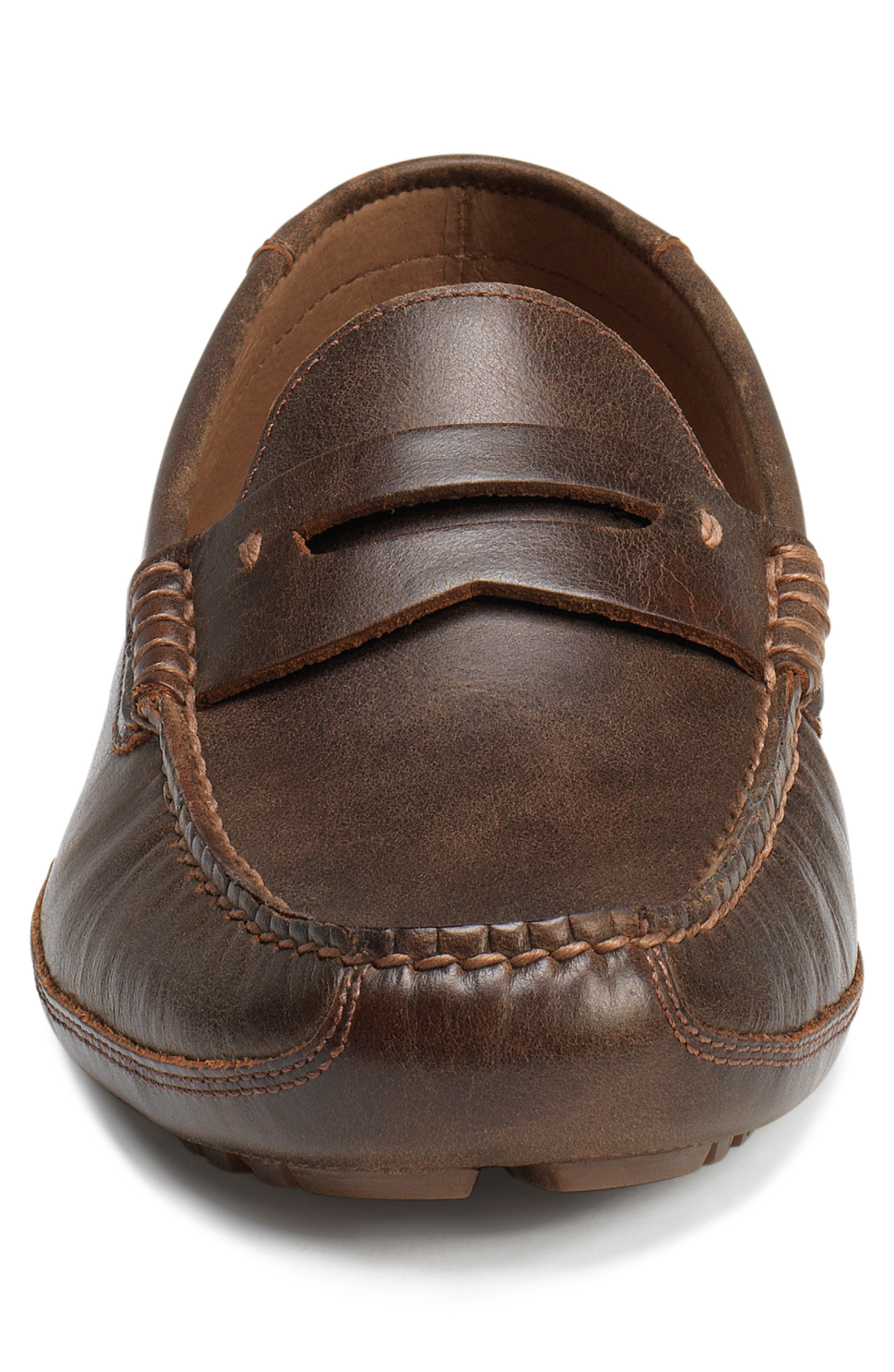 Dawson Water Resistant Driving Loafer,                             Alternate thumbnail 4, color,                             DARK BROWN LEATHER