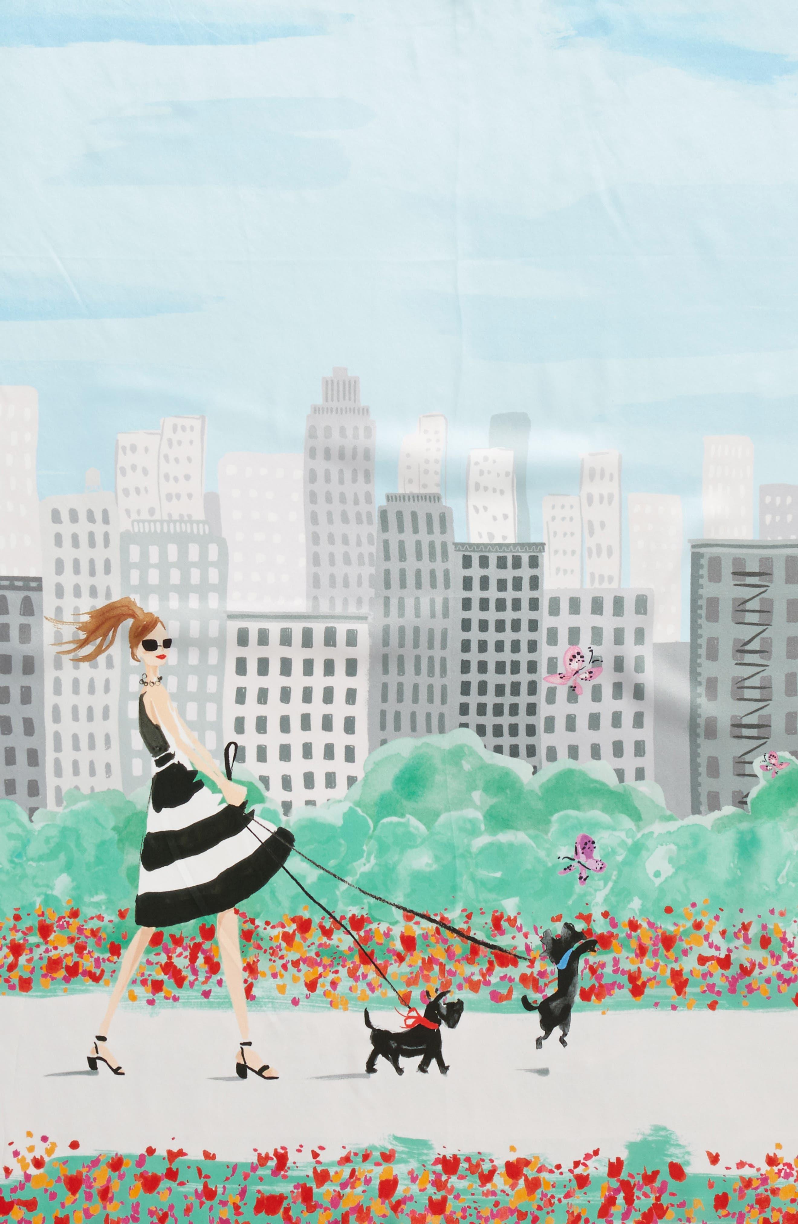 nyc scene square silk scarf,                             Alternate thumbnail 4, color,                             001