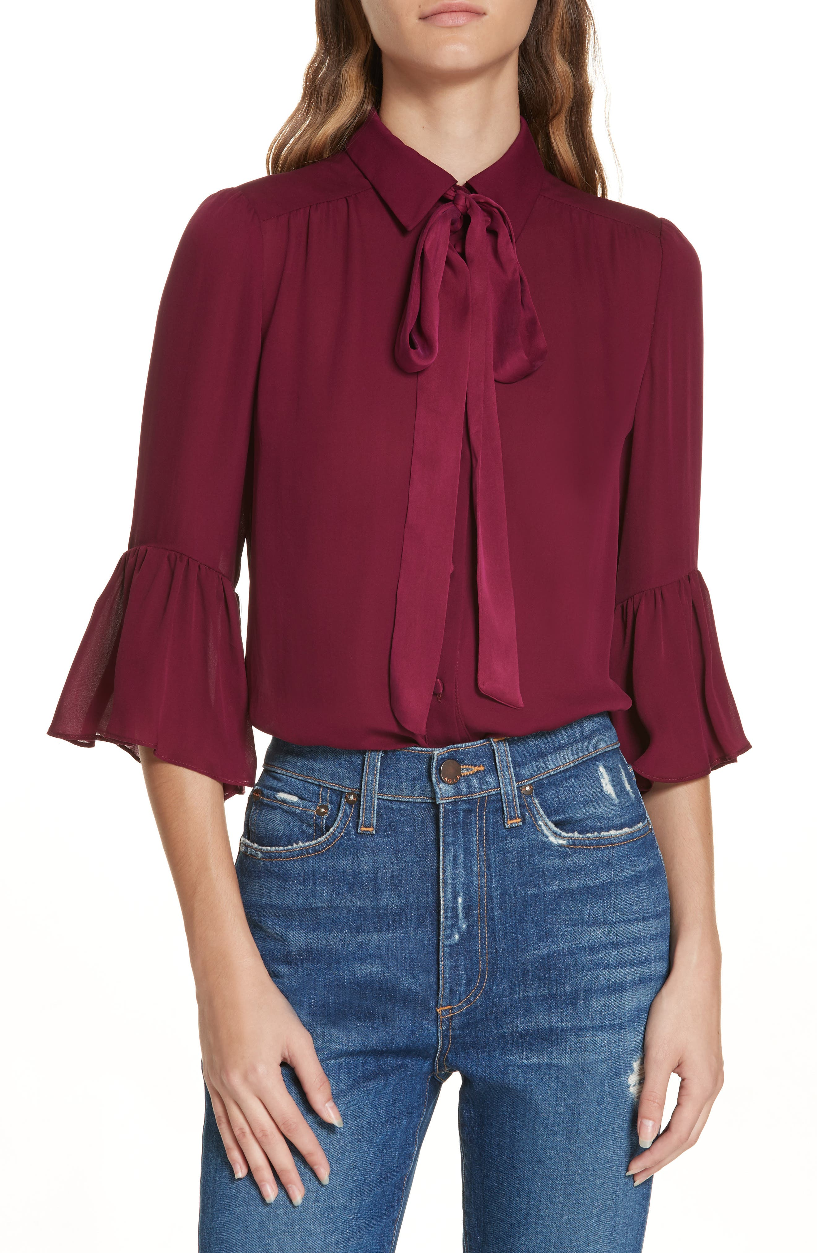 Maxima Ruffle-Sleeve Button-Front Silk Blouse in Currant
