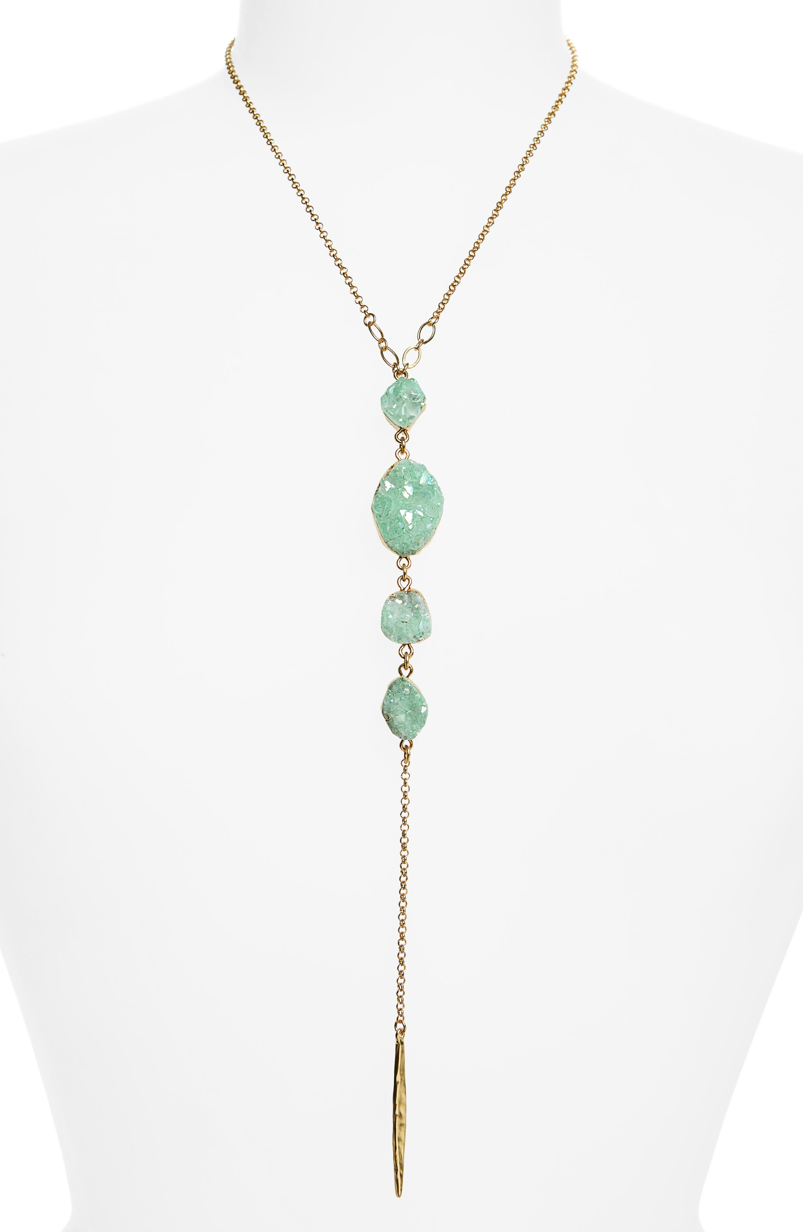 Drusy Chain Y-Necklace,                             Main thumbnail 1, color,                             310