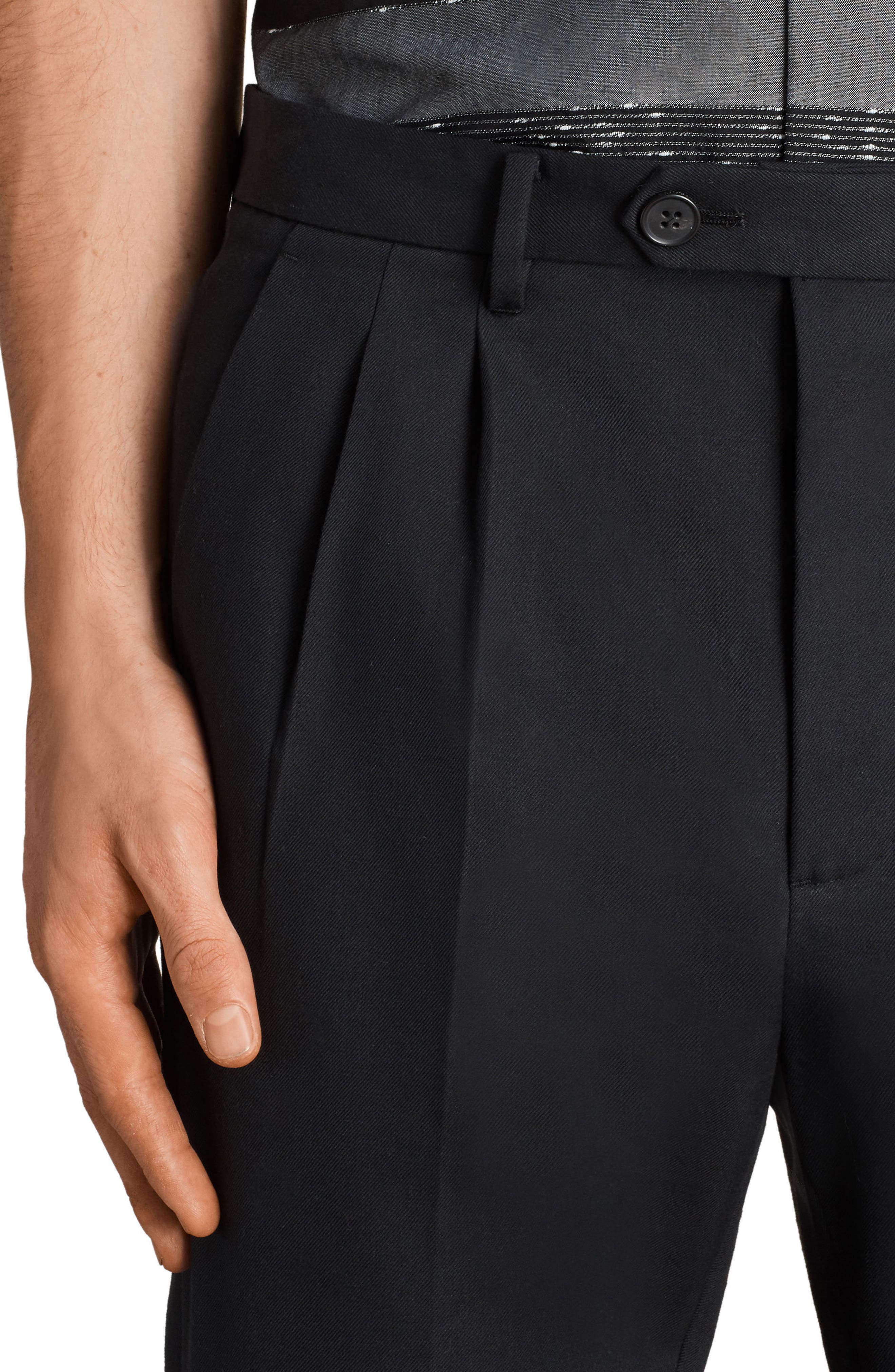 Tallis Pleated Cotton & Wool Trousers,                             Alternate thumbnail 3, color,                             BLACK