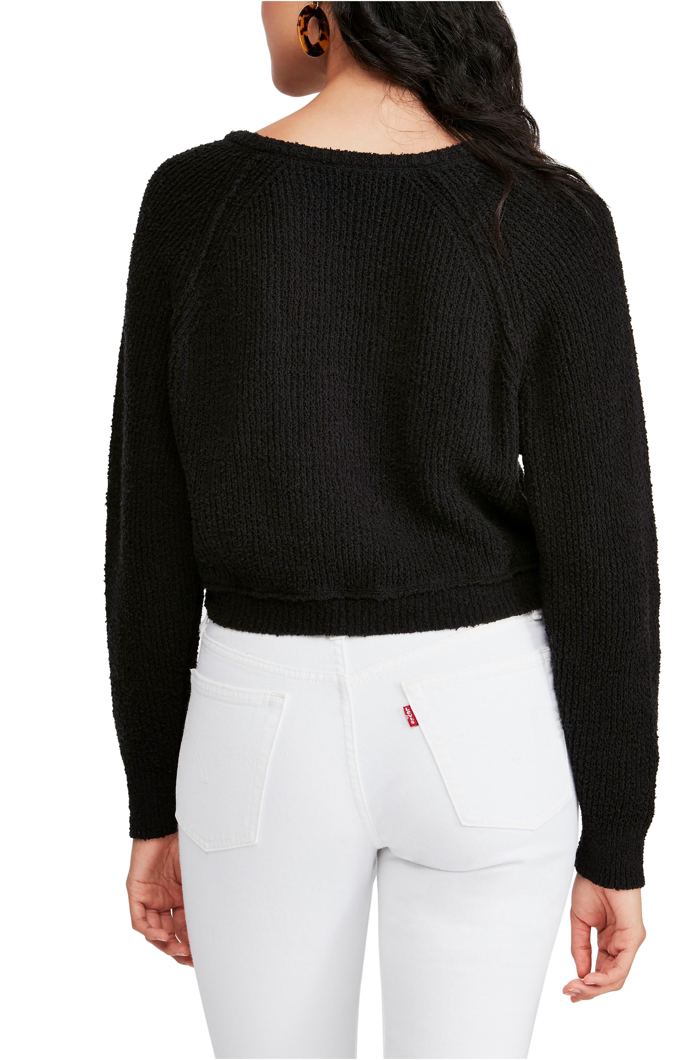 FREE PEOPLE,                             V-Neck Sweater,                             Alternate thumbnail 2, color,                             BLACK