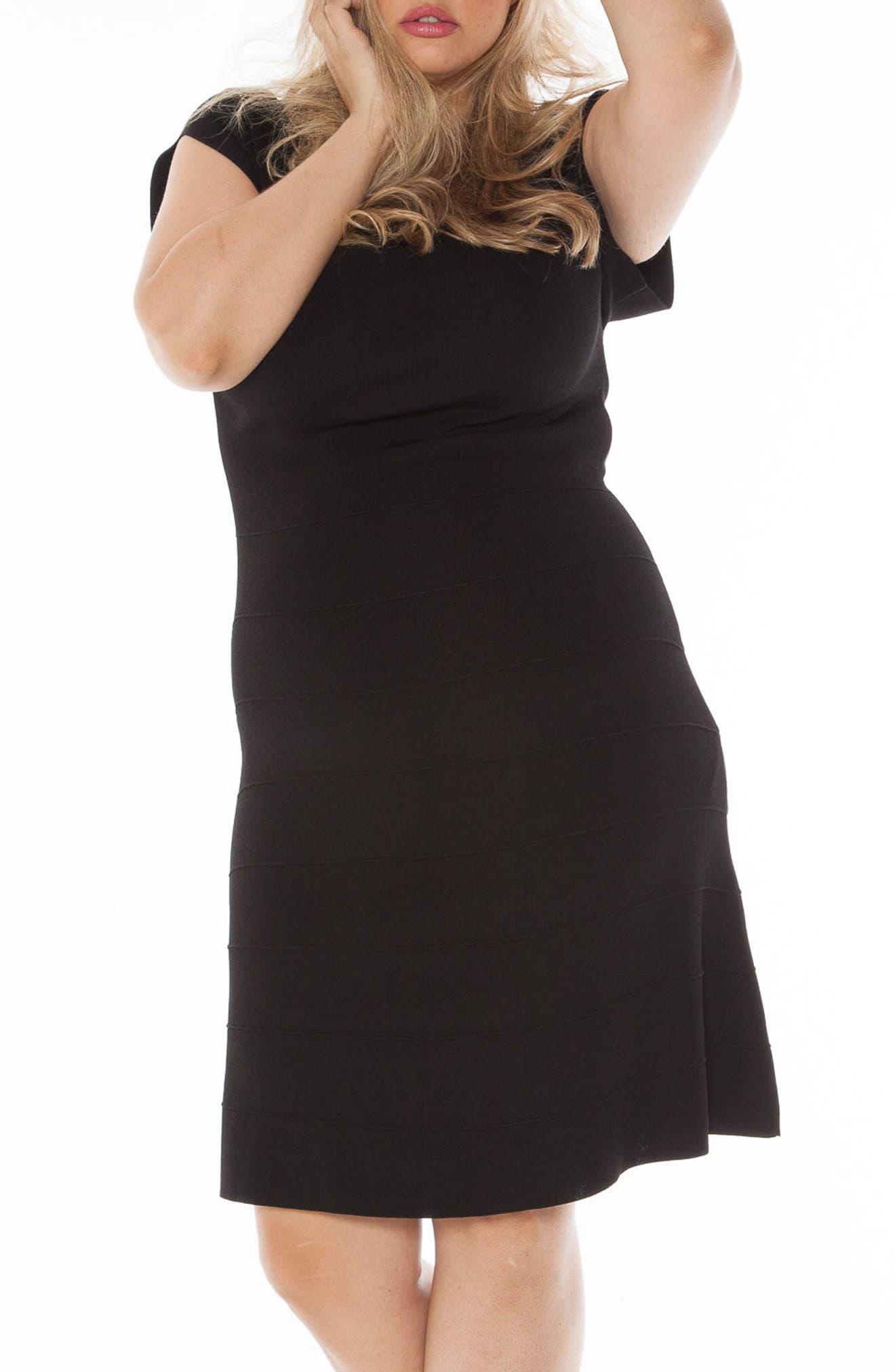 Cap Sleeve Knit A-Line Dress,                         Main,                         color, 001