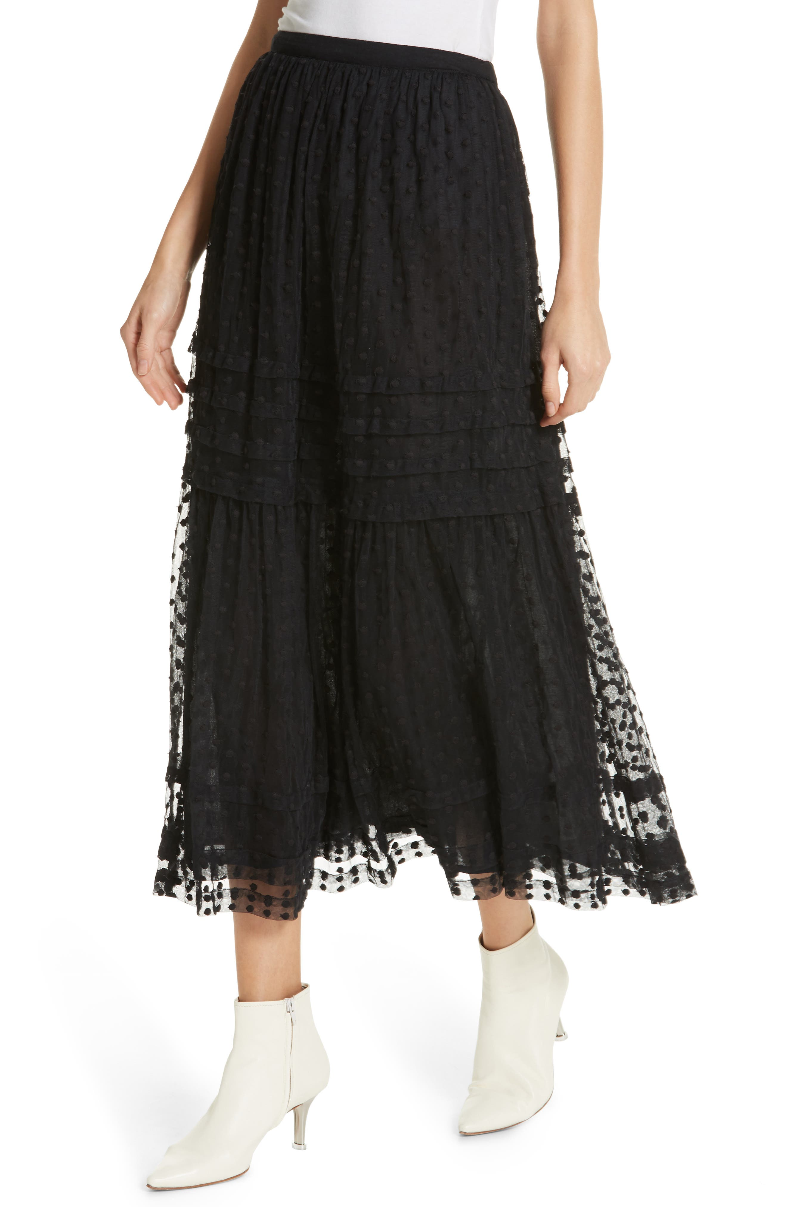 The Sway Polka Dot Mesh Skirt,                             Alternate thumbnail 4, color,                             BLACK