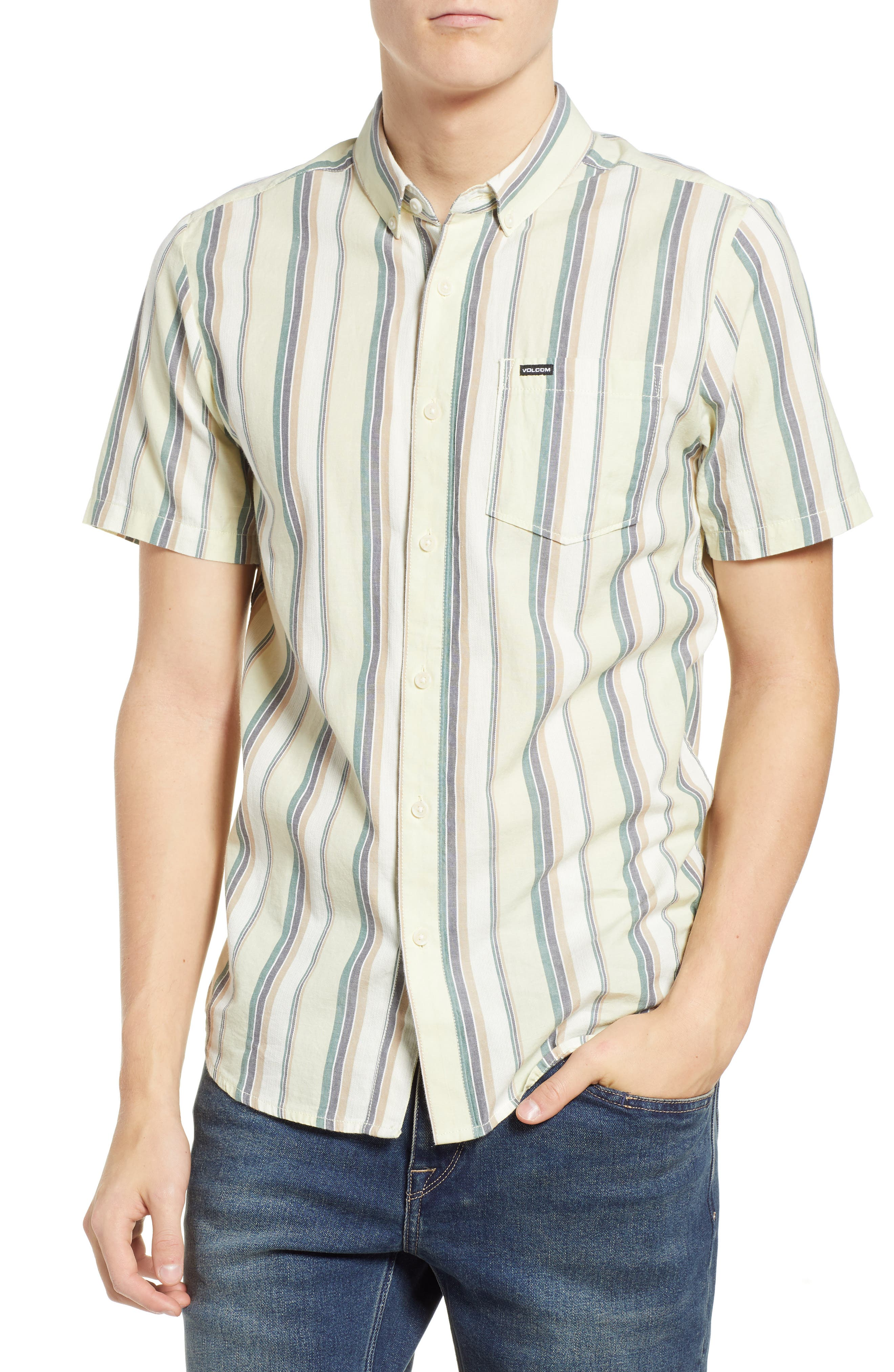 Multitone Stripe Woven Shirt,                             Main thumbnail 1, color,                             SAGE