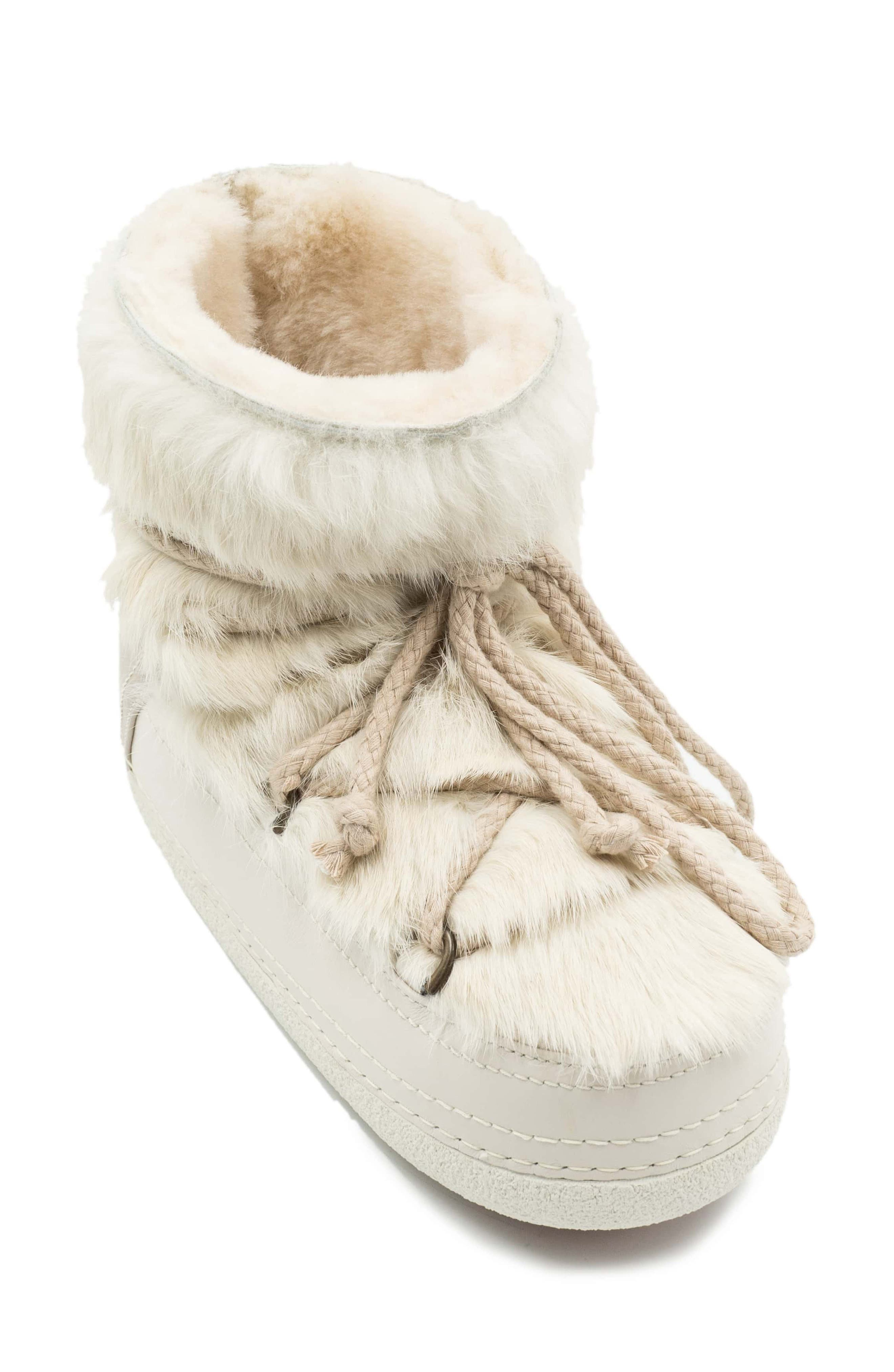 INUIKII Genuine Rabbit Fur & Leather Bootie in Sandshell