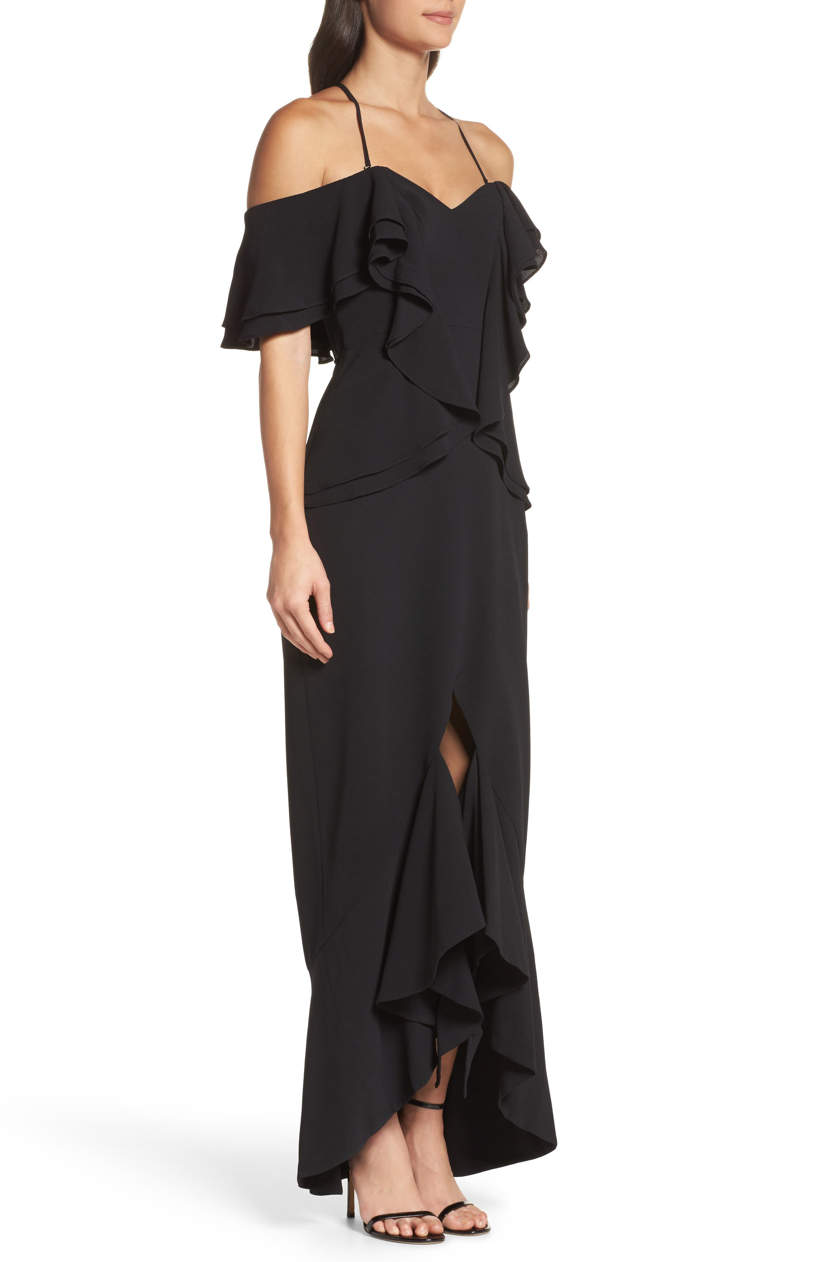 Covet Ruffle Off the Shoulder Gown,                             Alternate thumbnail 3, color,                             001