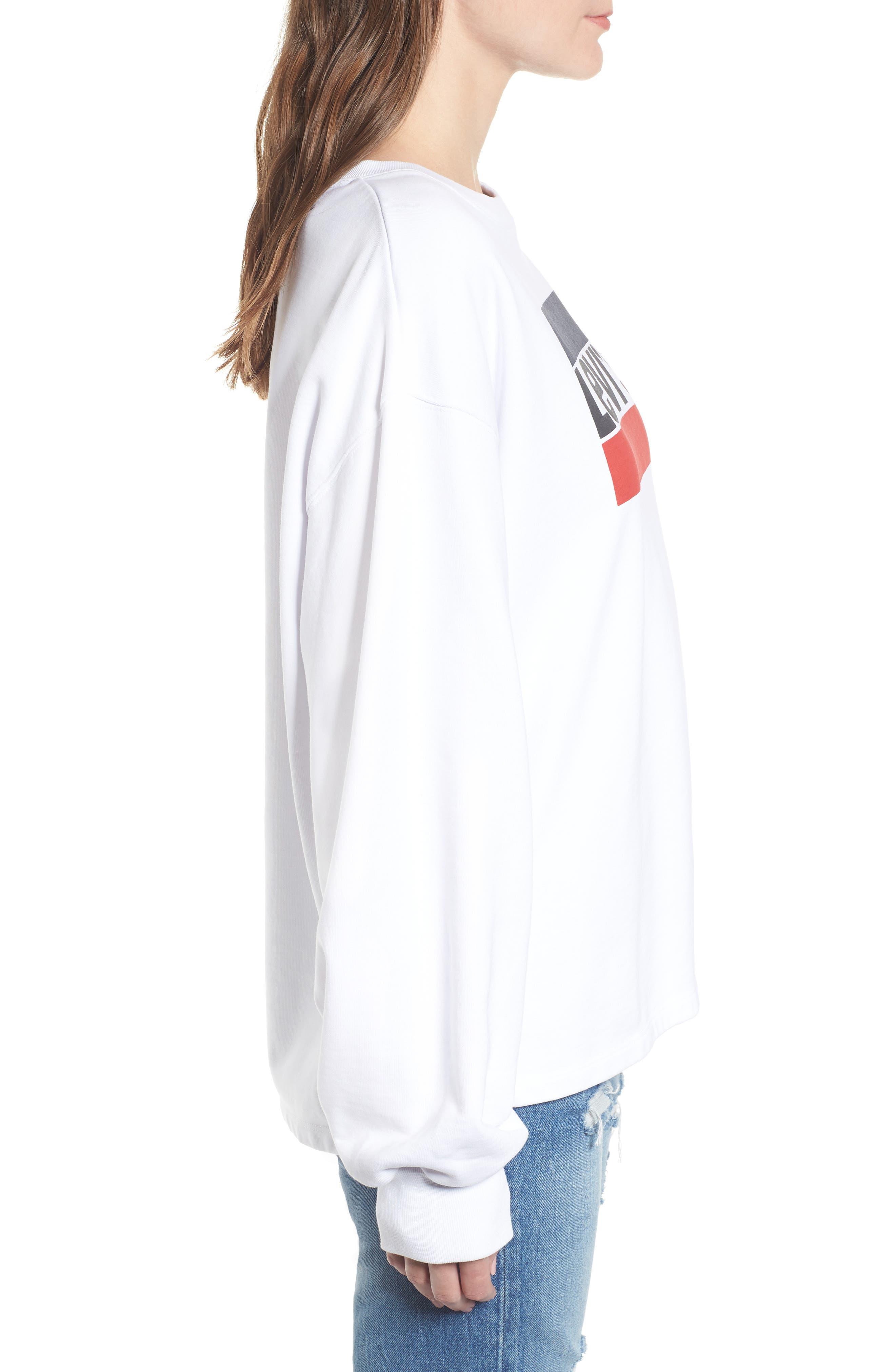 Logo Big Sleeve Sweatshirt,                             Alternate thumbnail 3, color,                             SPORTSWEAR LOGO CREW WHITE