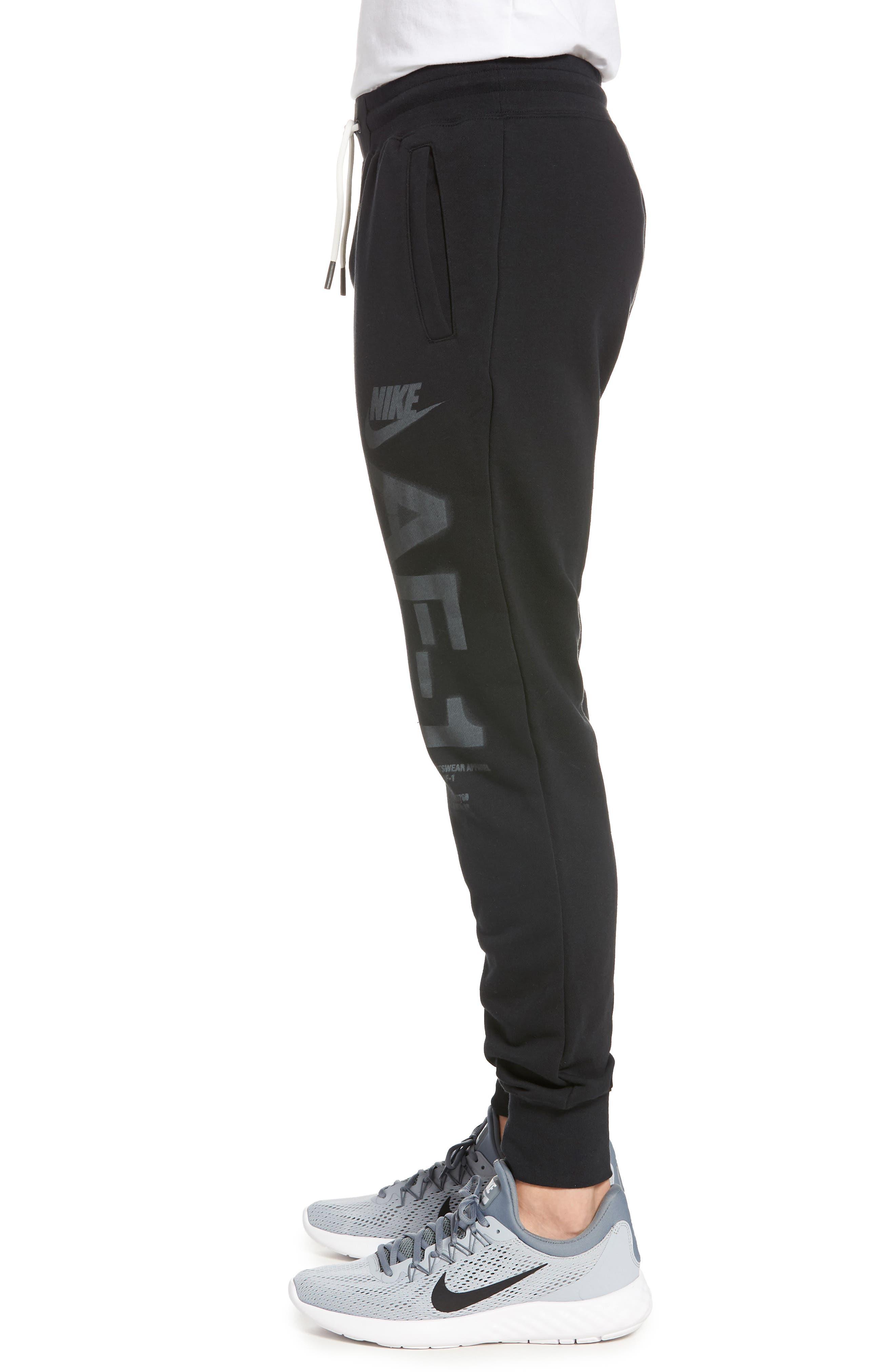 Sportswear Air Force 1 Jogger Pants,                             Alternate thumbnail 3, color,                             BLACK/ ANTHRACITE