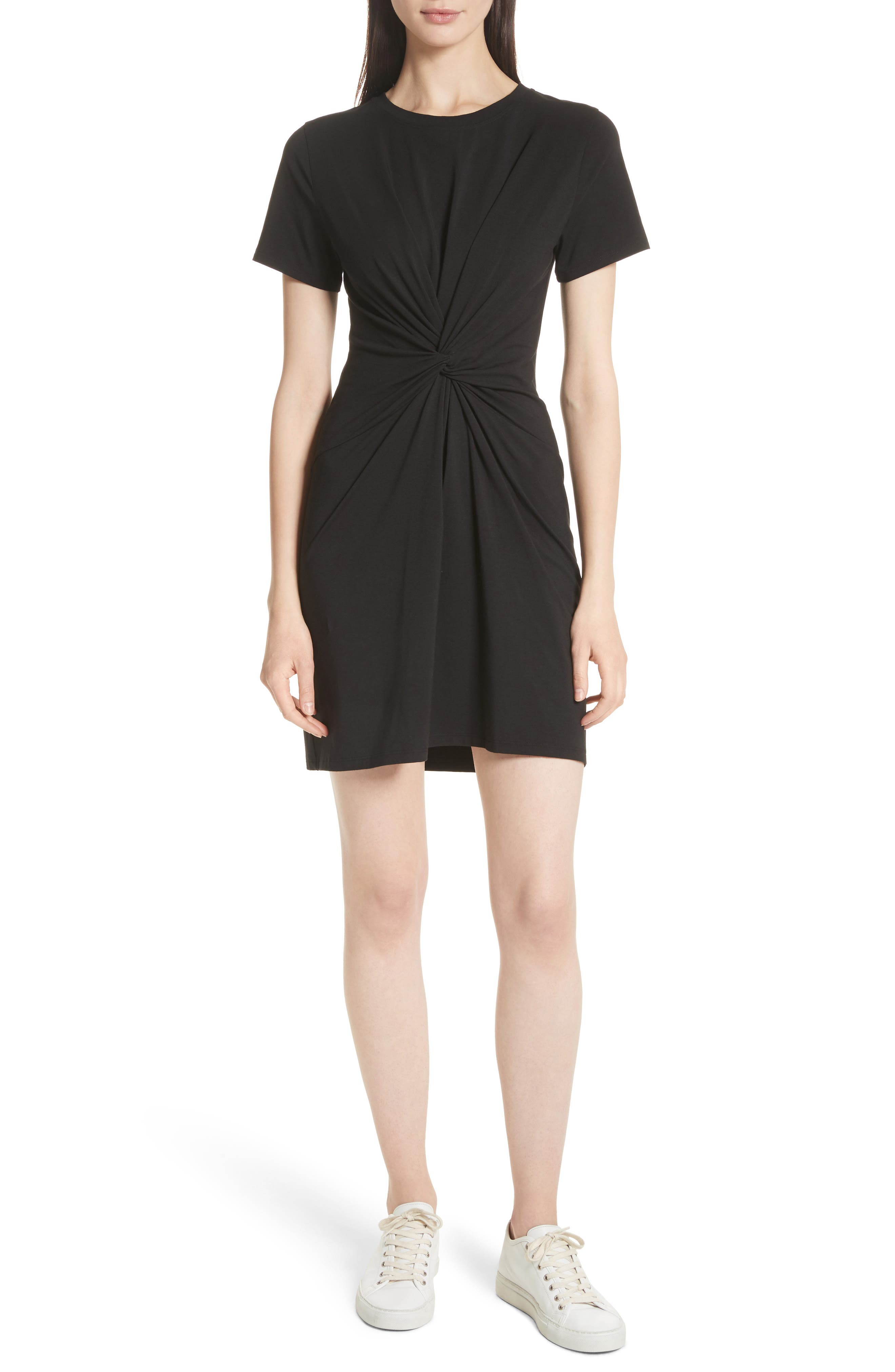 Rubri Knotted T-Shirt Dress,                         Main,                         color, BLACK MULTI