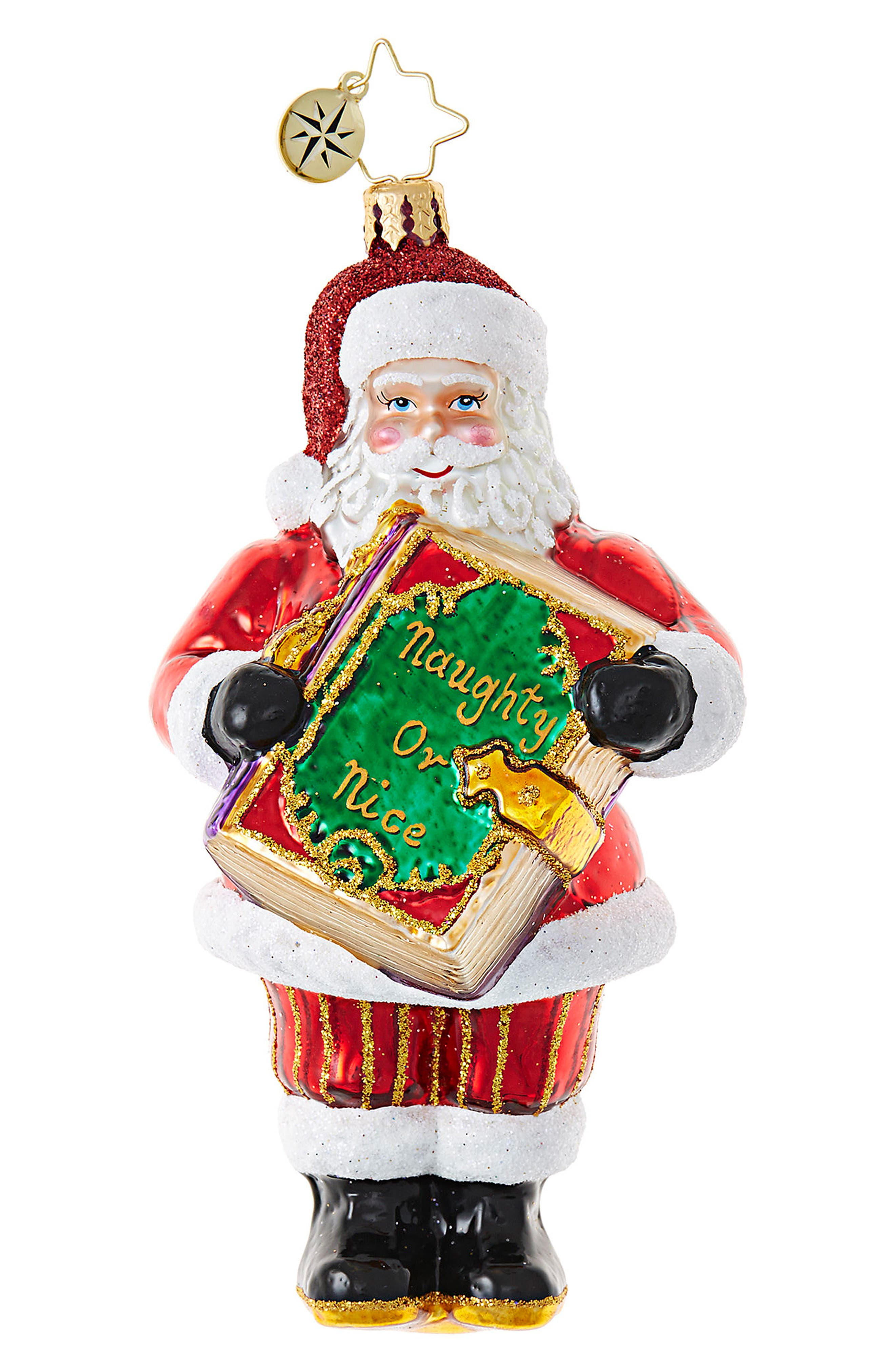 Christmas Checklist Glass Ornament,                         Main,                         color, 600