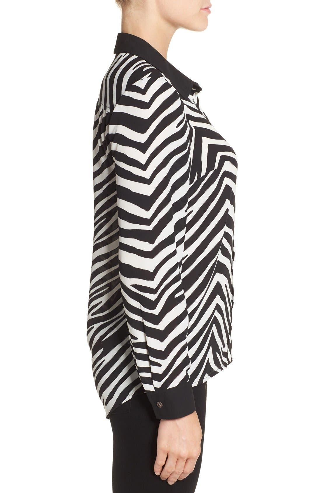 Zebra Stripe Long Sleeve Blouse,                             Alternate thumbnail 3, color,                             006