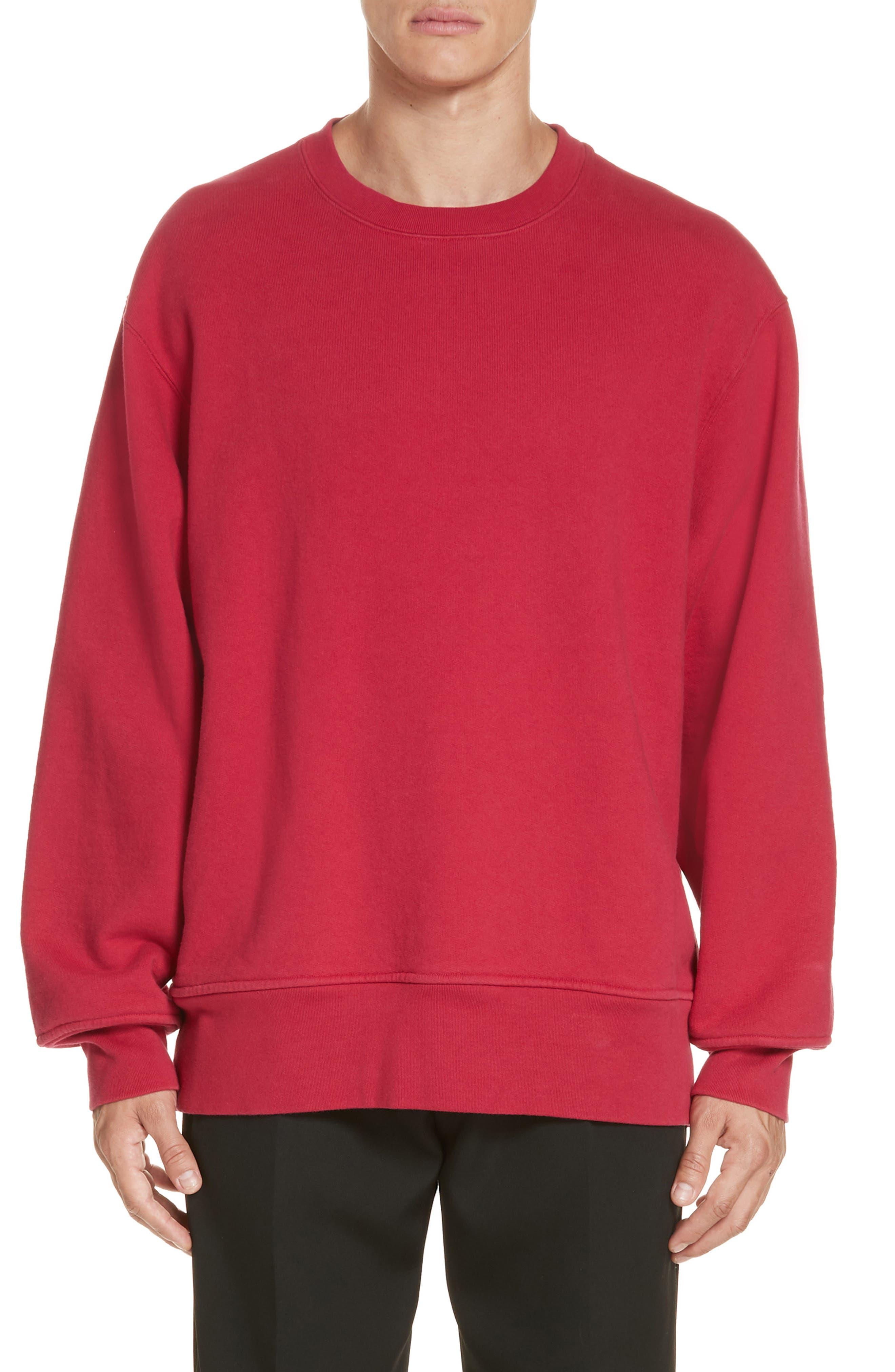 Crewneck Sweatshirt,                         Main,                         color, CHERRY