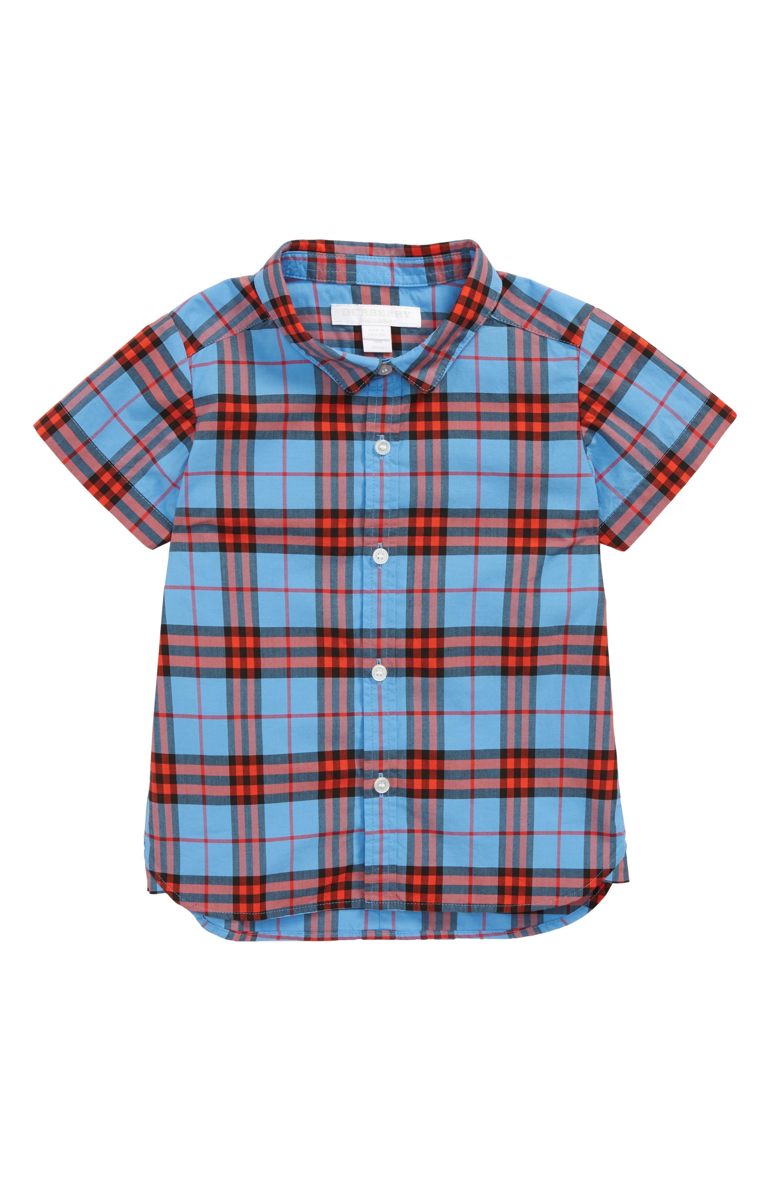 Clarkey Plaid Woven Shirt,                         Main,                         color, CORNFLOWER BLUE