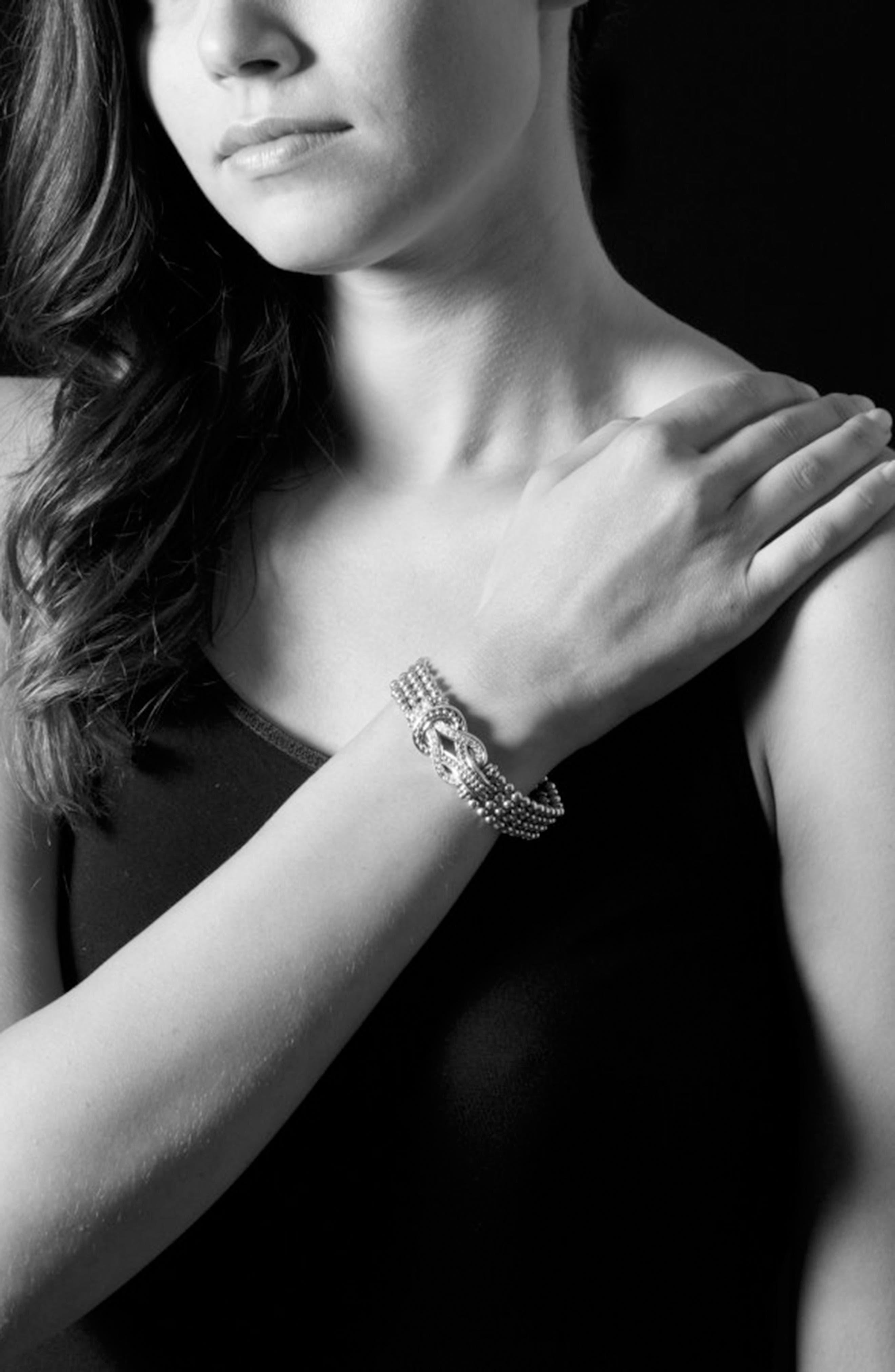 'Newport' Diamond Knot Flat Caviar Bracelet,                             Alternate thumbnail 2, color,                             040