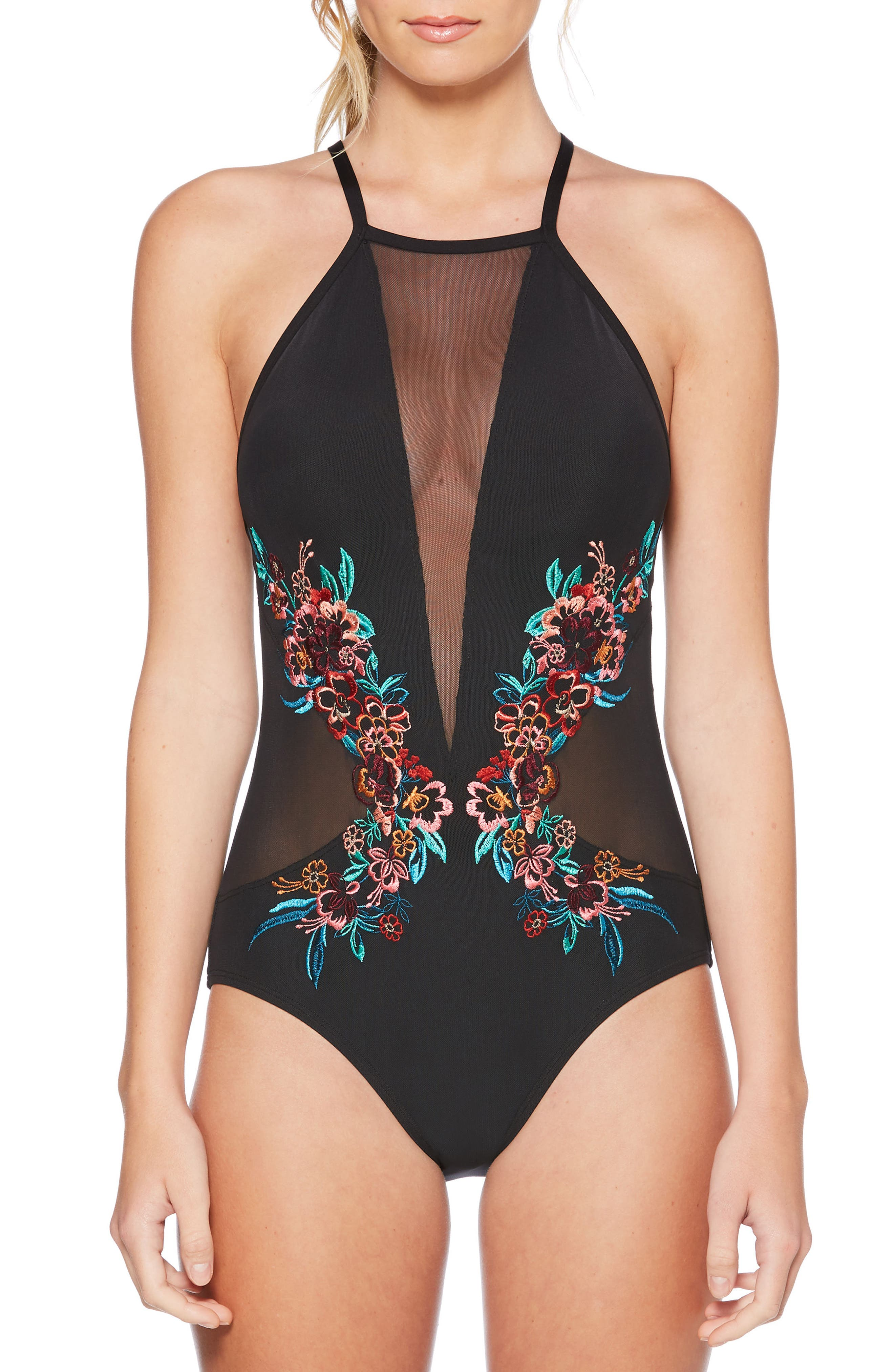 Embroidered Mesh One-Piece Swimsuit,                             Main thumbnail 1, color,                             001