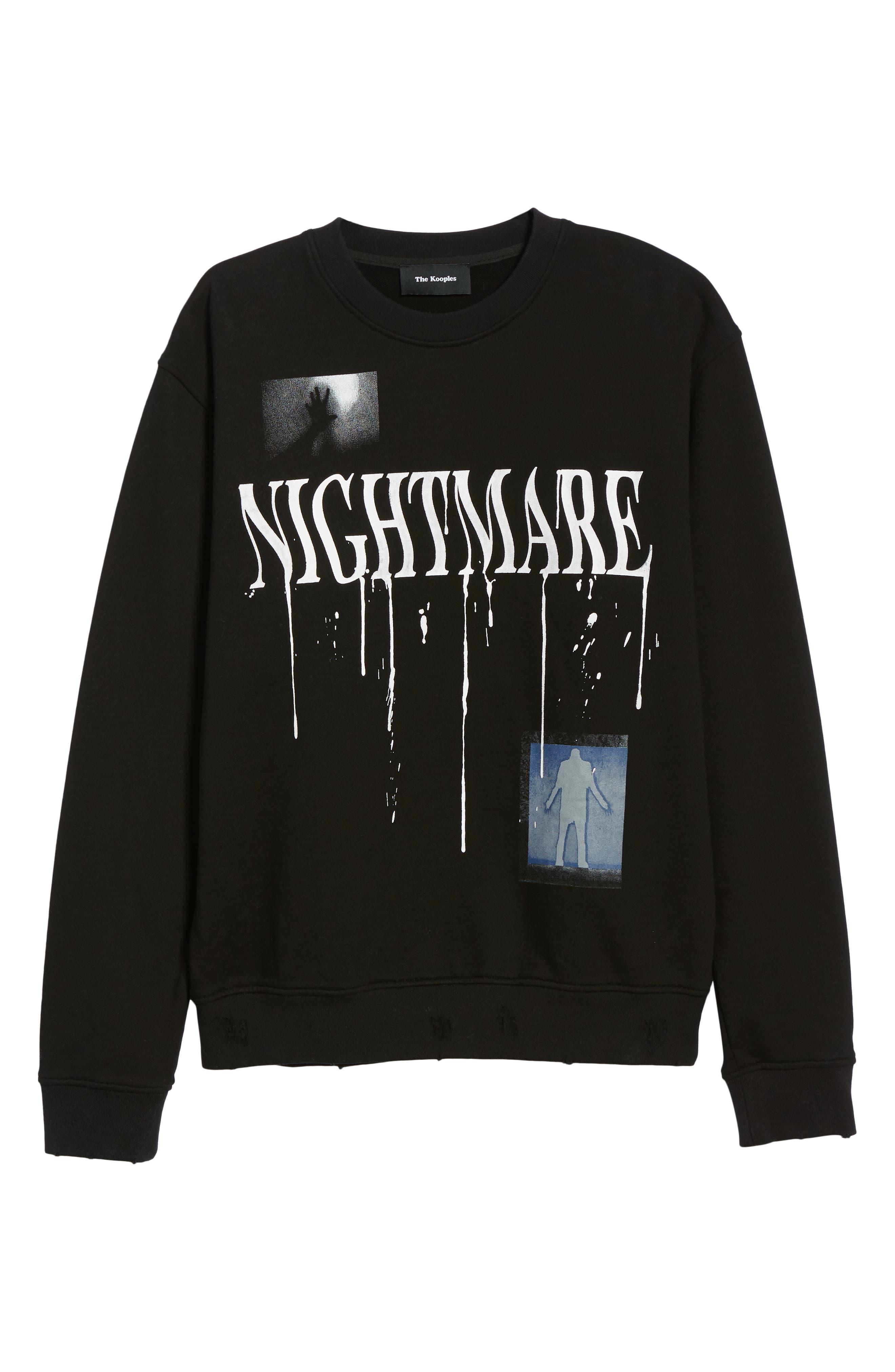 Nightmare Graphic Distressed Sweatshirt,                             Alternate thumbnail 6, color,                             BLACK