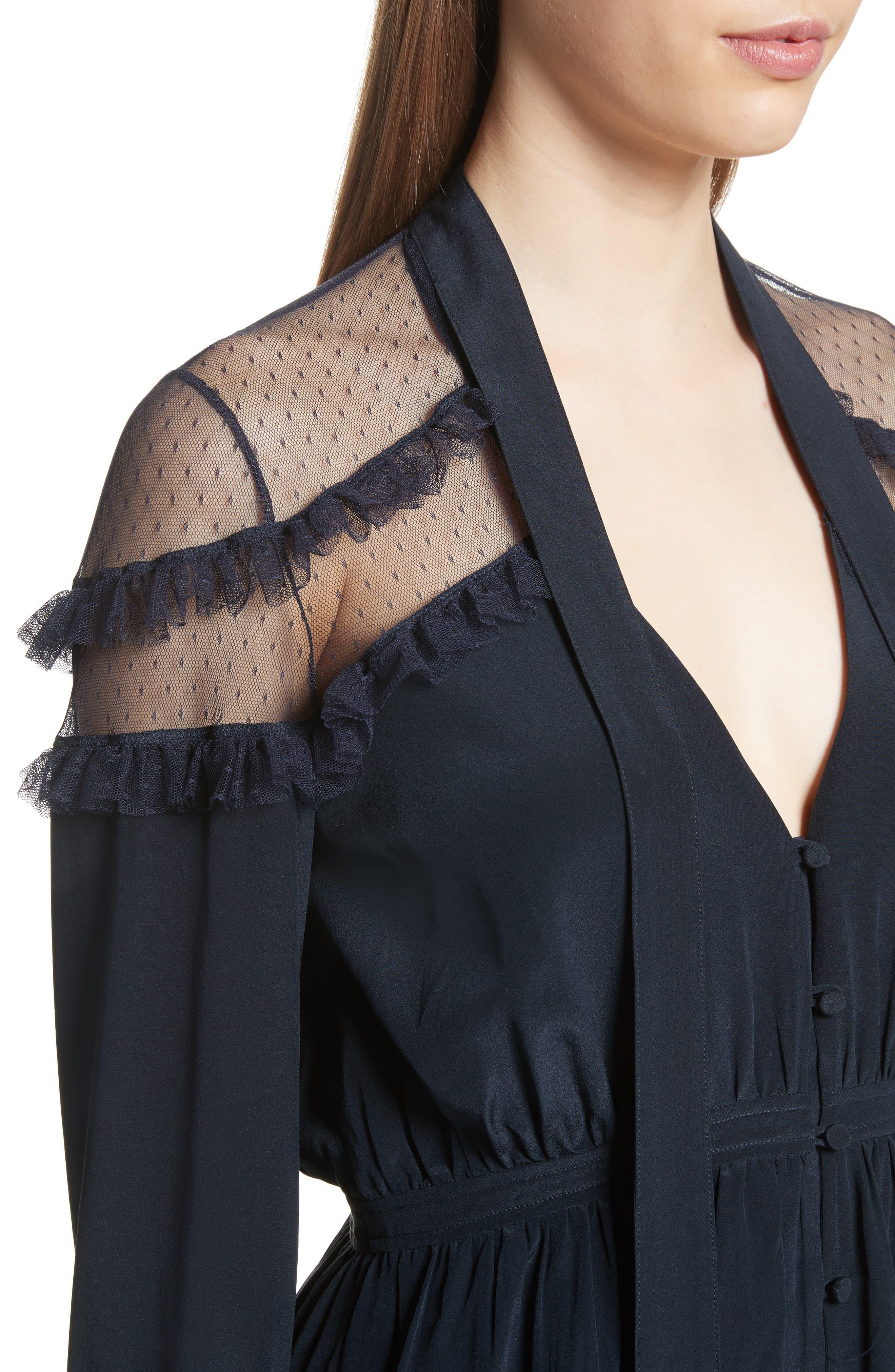 Peyton Tie Neck Silk Blouse,                             Alternate thumbnail 4, color,                             410