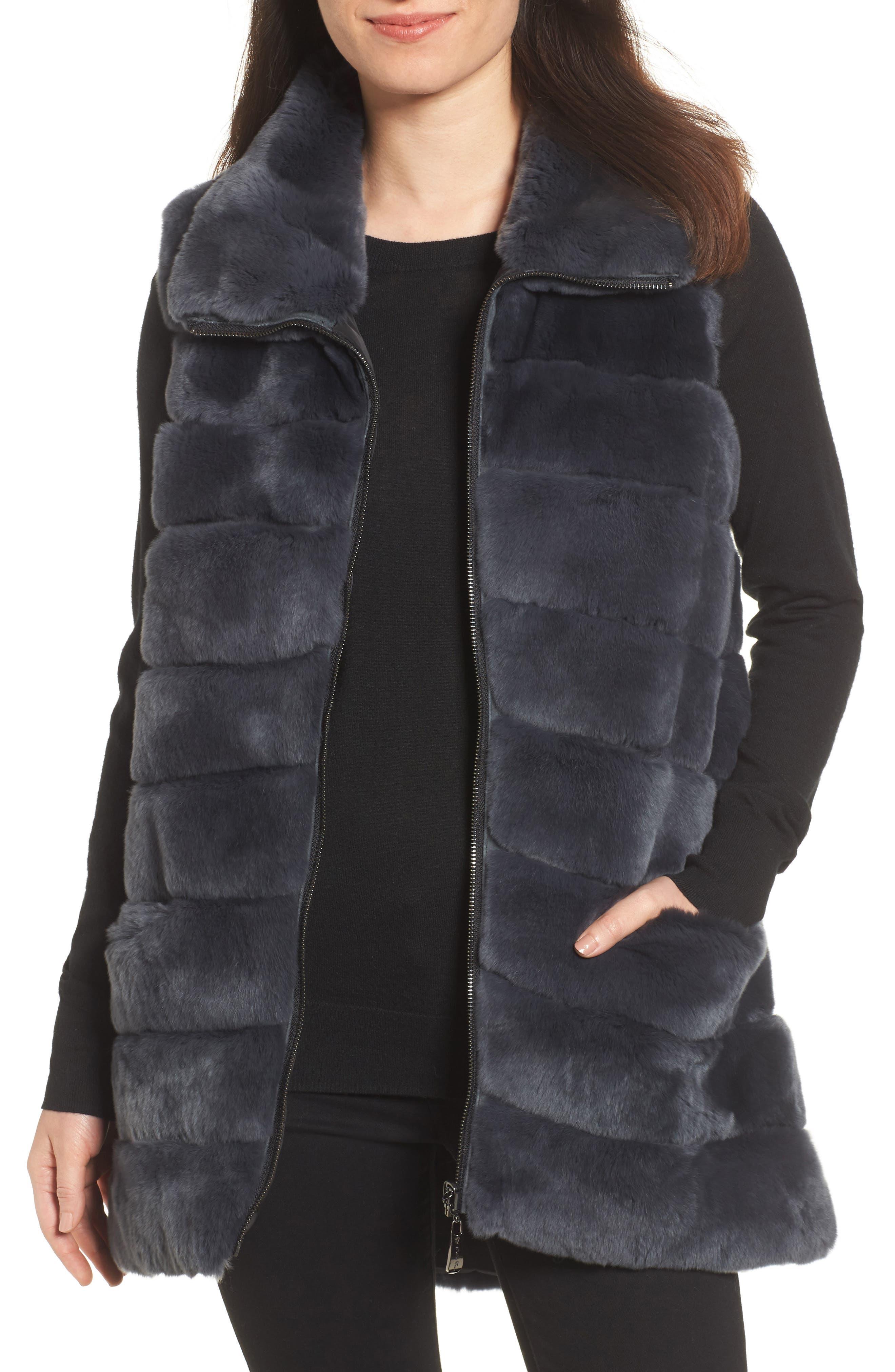 Reversible Genuine Rabbit Fur Vest, Main, color, 410