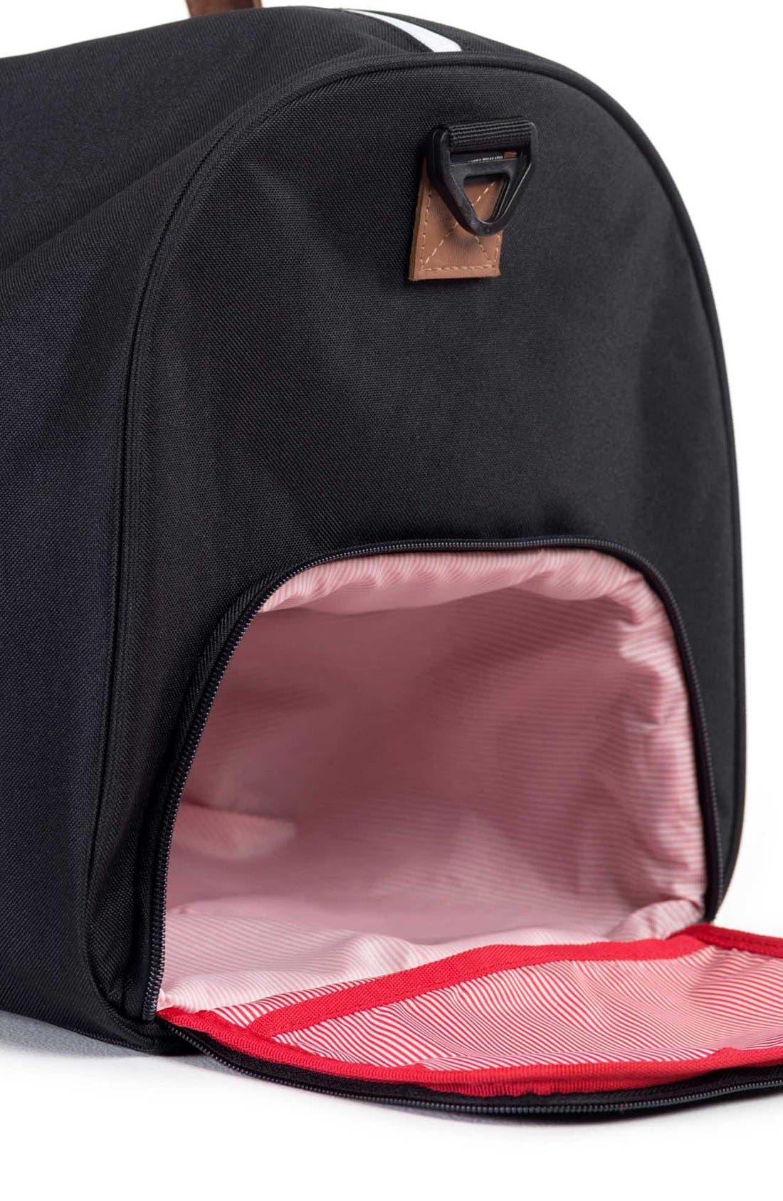 'Novel' Duffel Bag,                             Alternate thumbnail 12, color,                             BLACK/ TAN